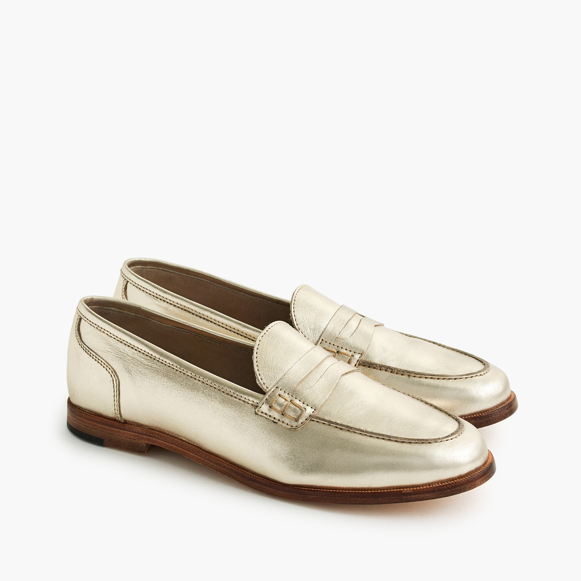 Ryan penny loafers in metallic leather women shoes c