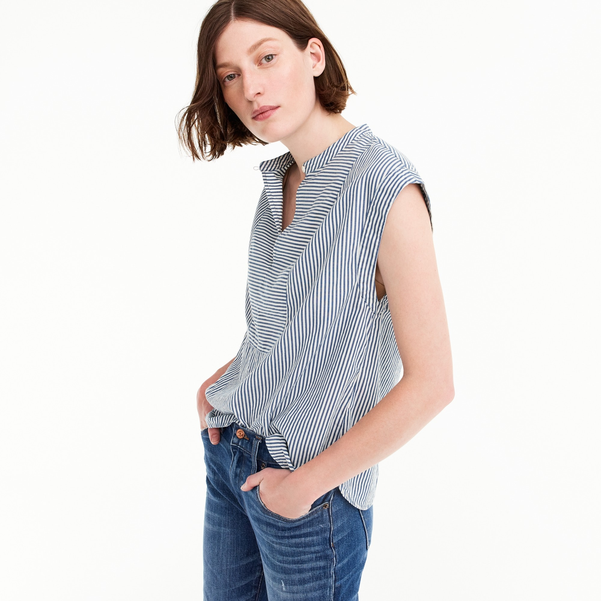 Cap-sleeve top in stripe women shirts & tops c