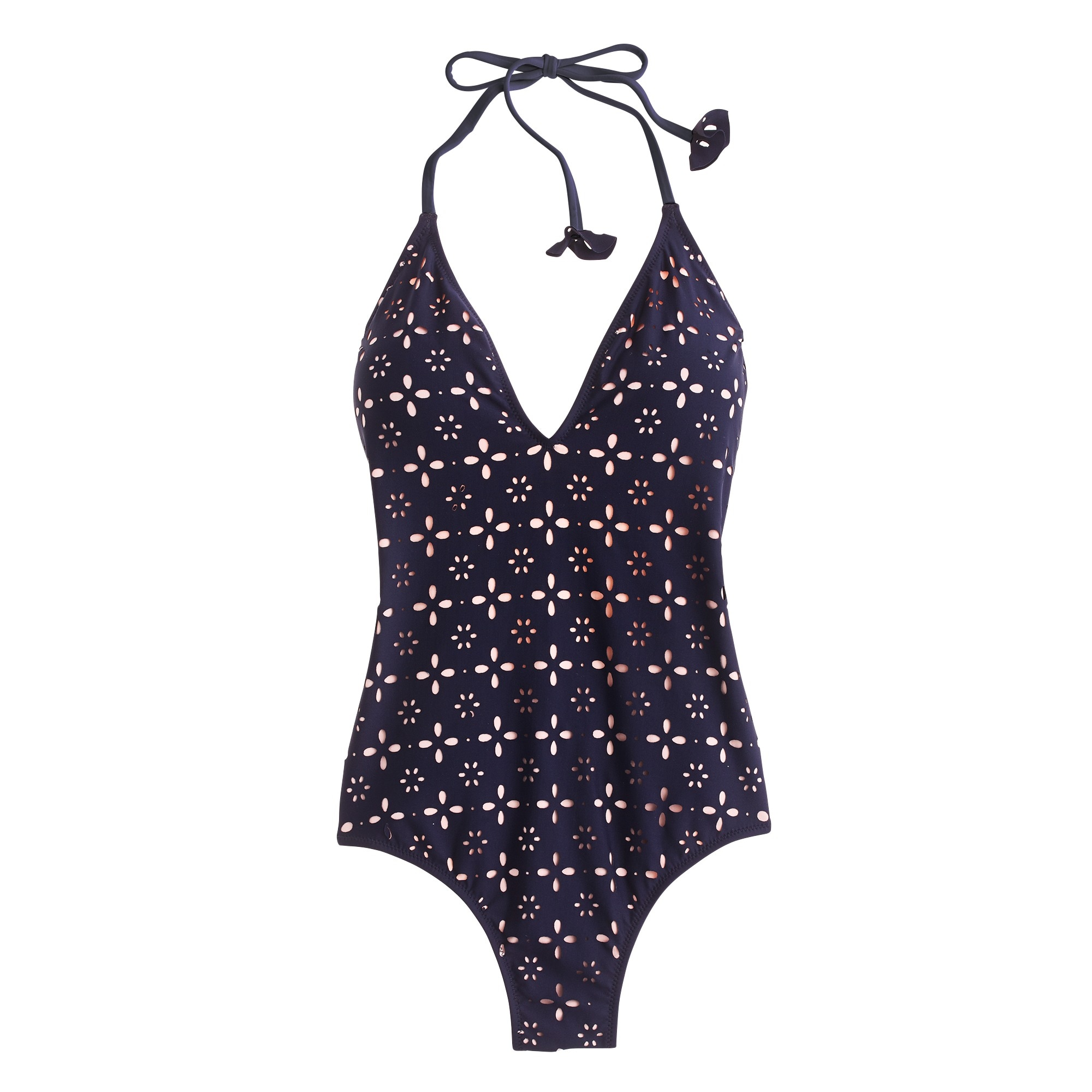 Halter one-piece swimsuit in laser-cut eyelet