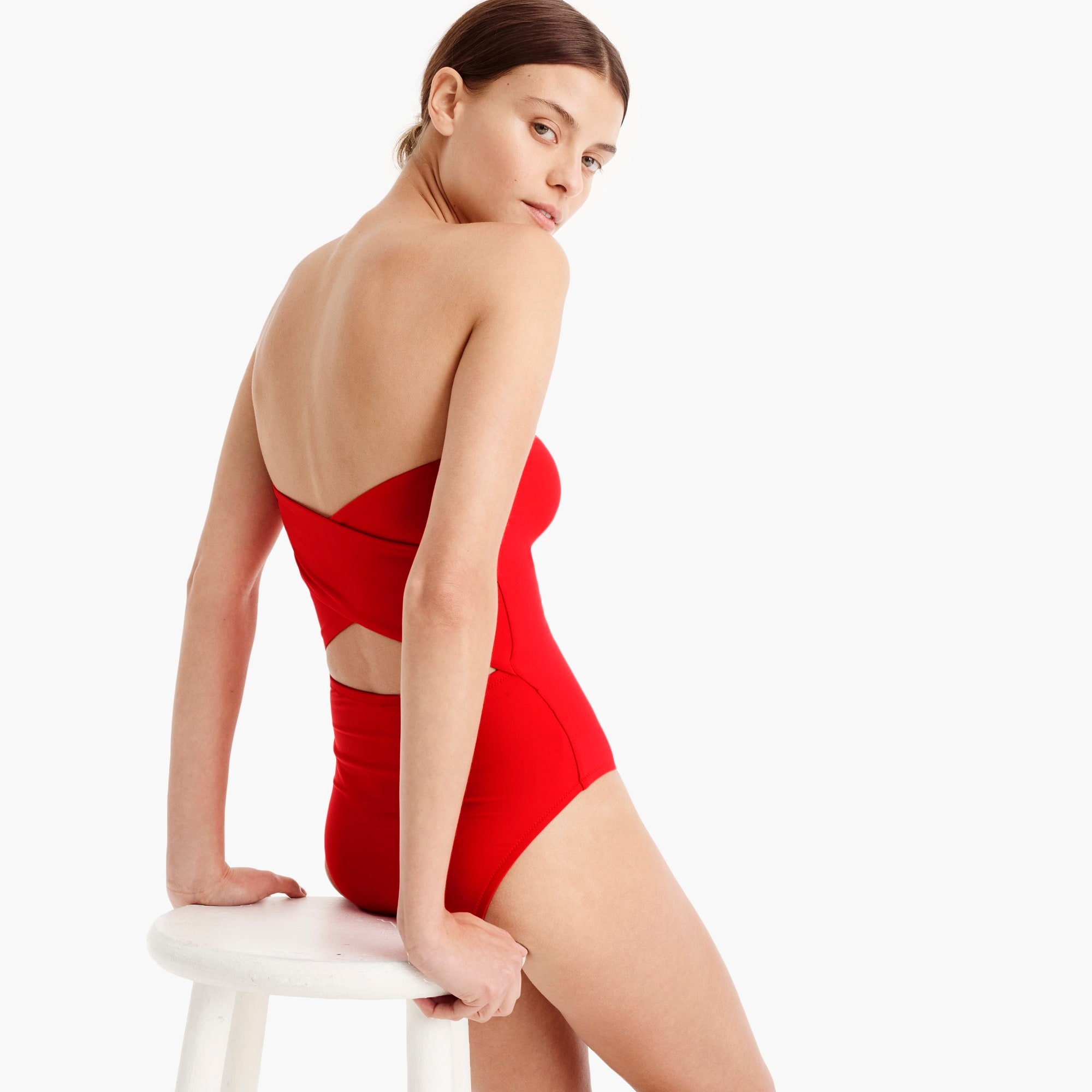 Image 1 for Cross-back bandeau one-piece swimsuit