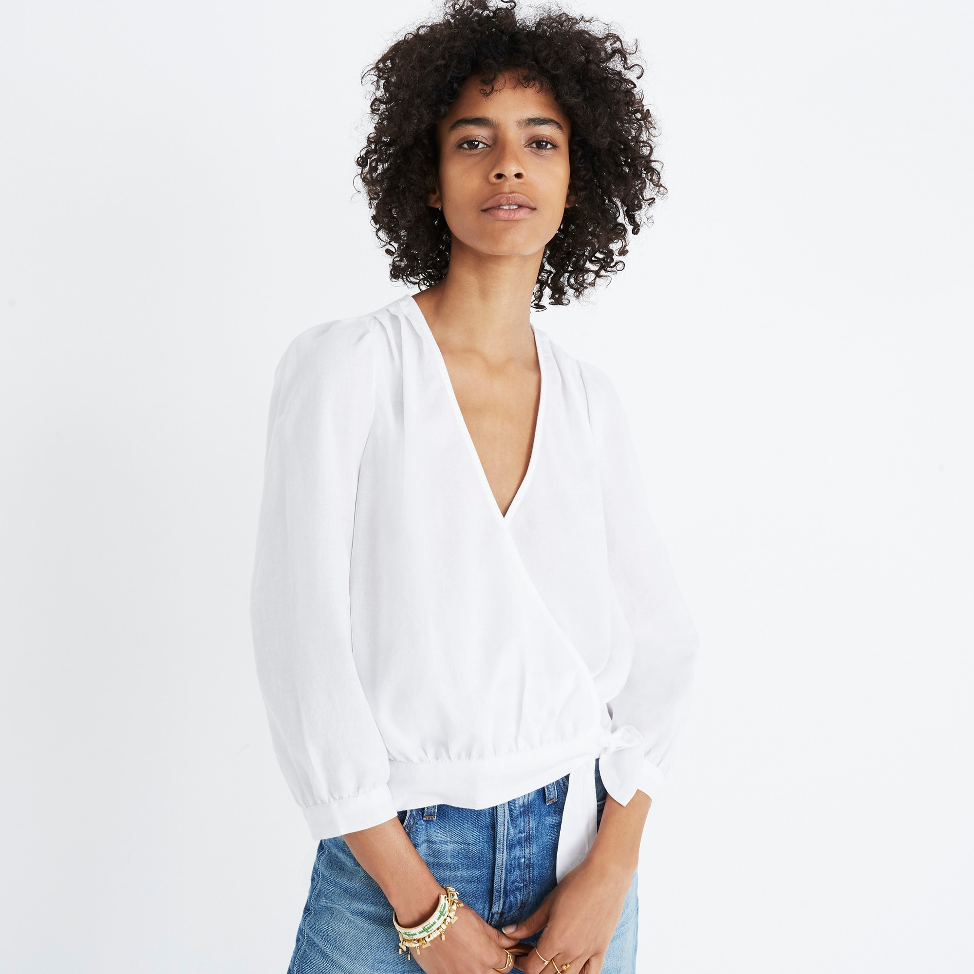 Madewell wrap top in eyelet white women shirts & tops c