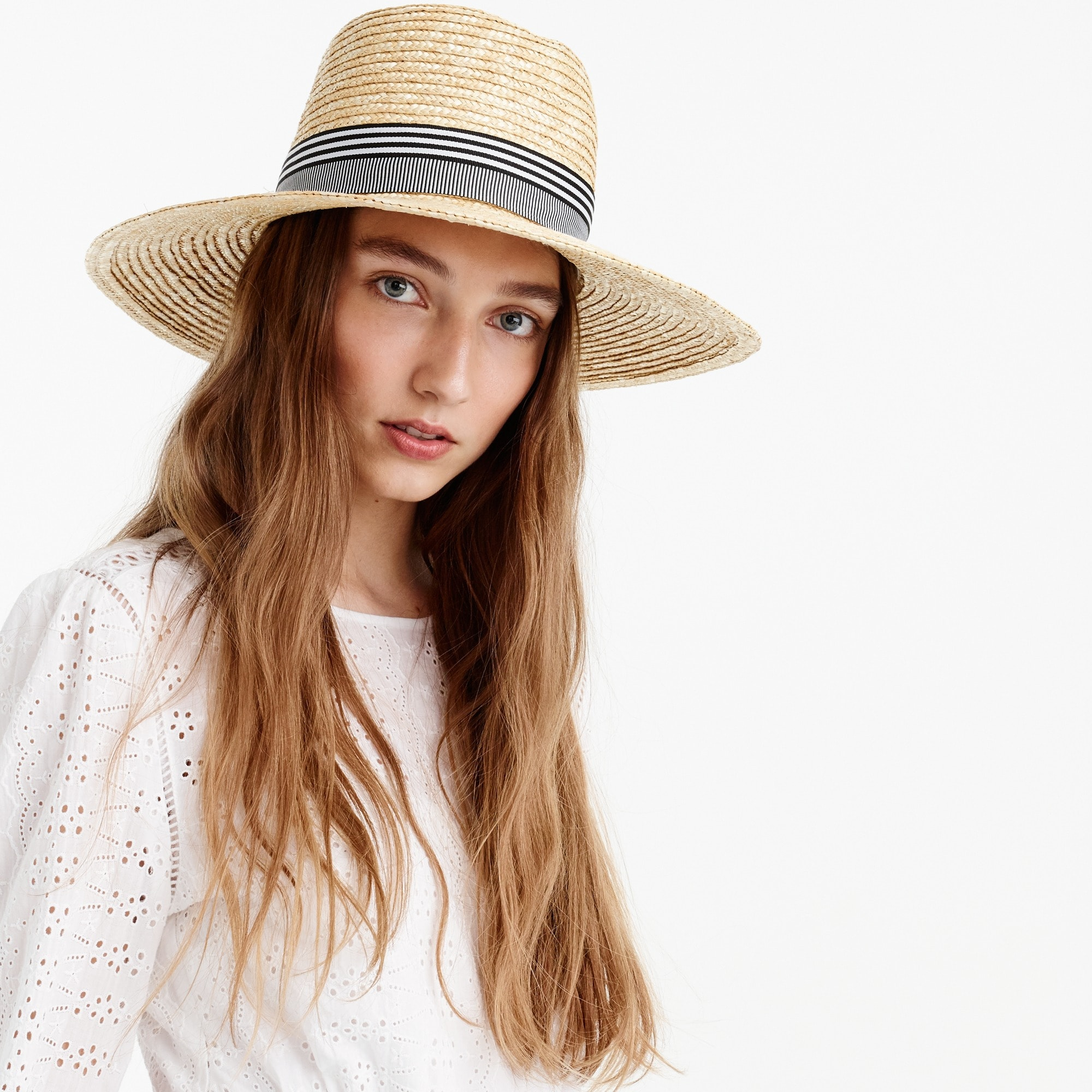 Straw hat with grosgrain ribbon women new arrivals c