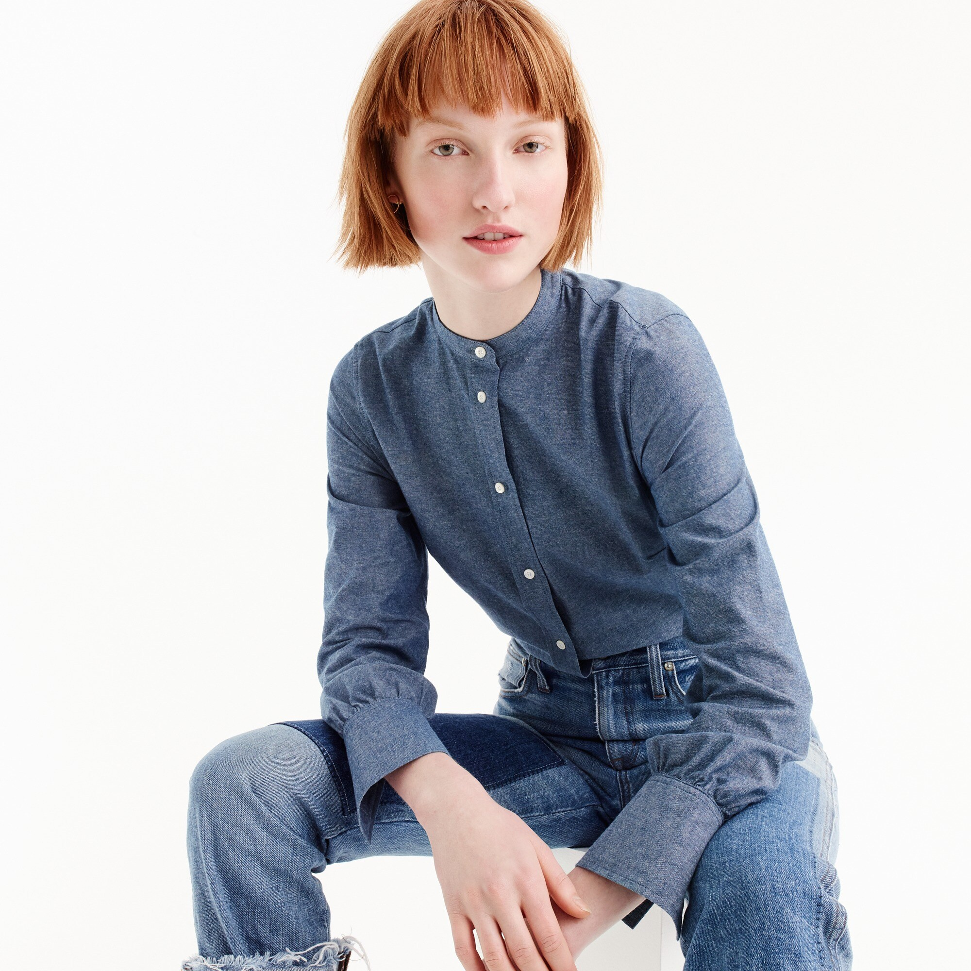 The slim Perfect bodysuit in chambray women shirts & tops c