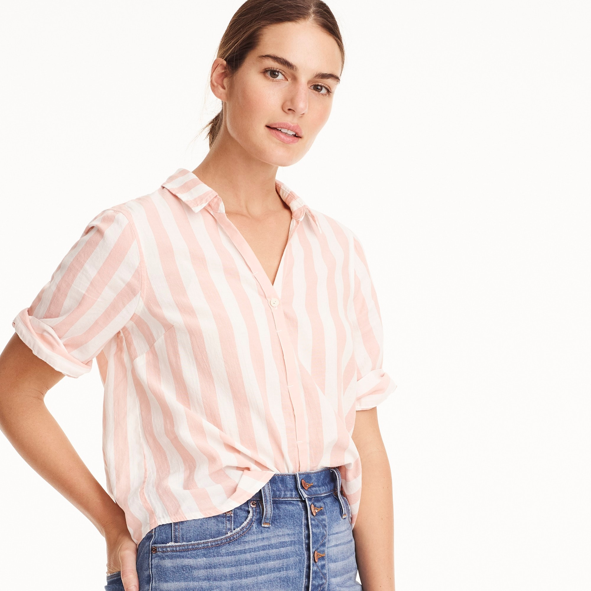 Short-sleeve button-up shirt in wide stripe women shirts & tops c