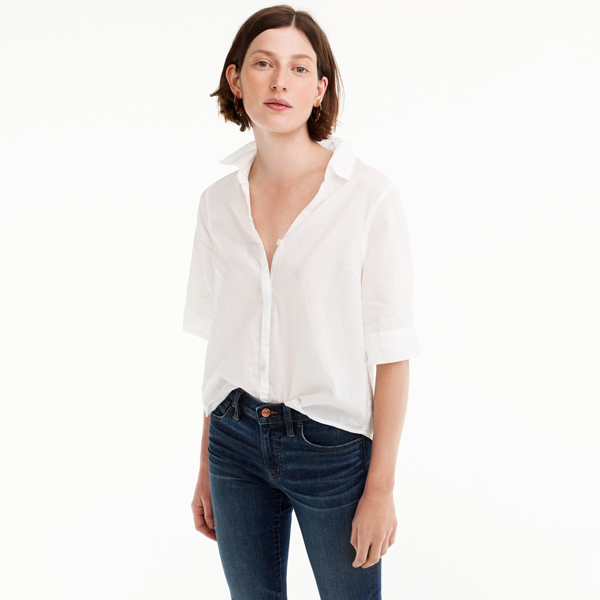 Short-sleeve button-up shirt women shirts & tops c