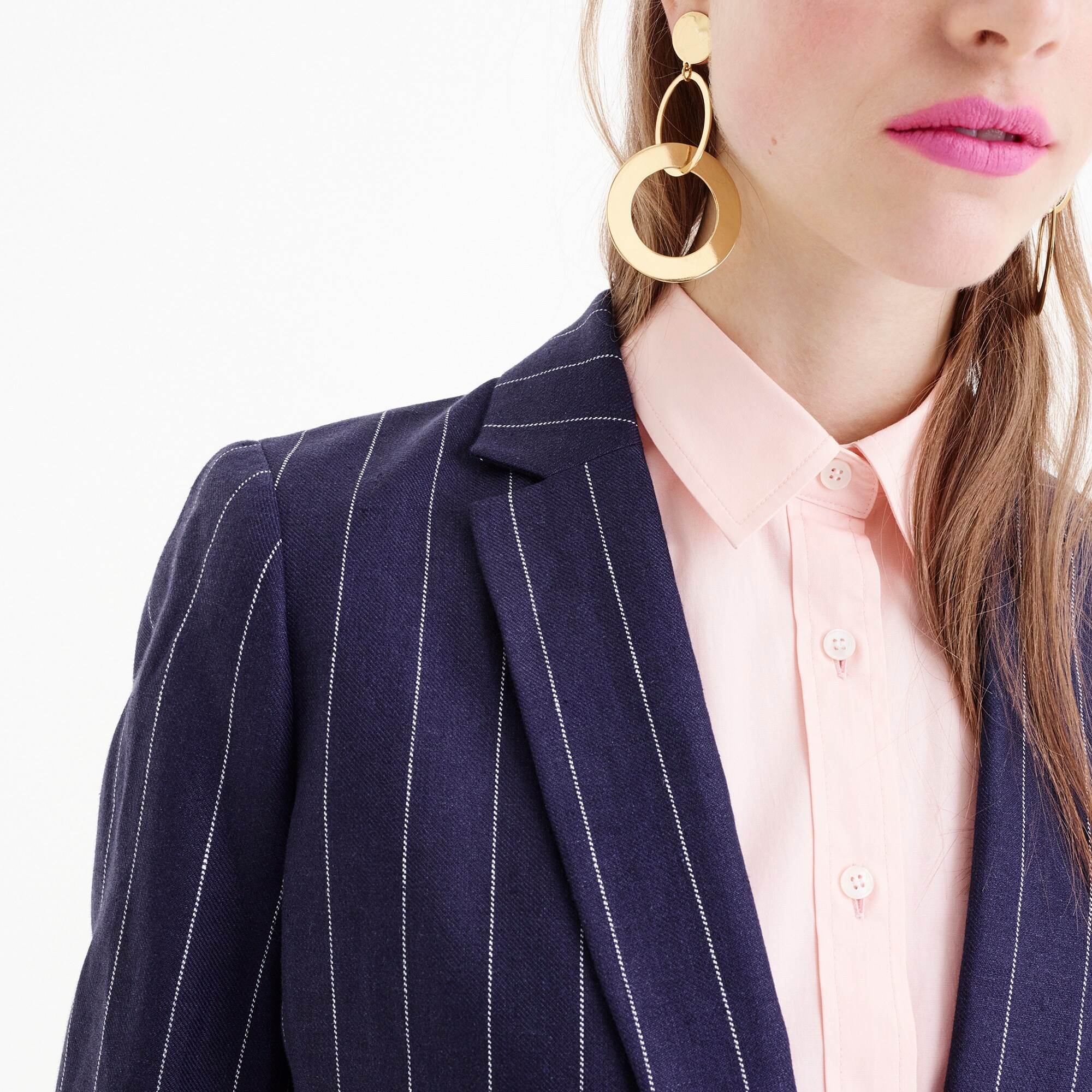 Petite boy blazer in pinstriped linen