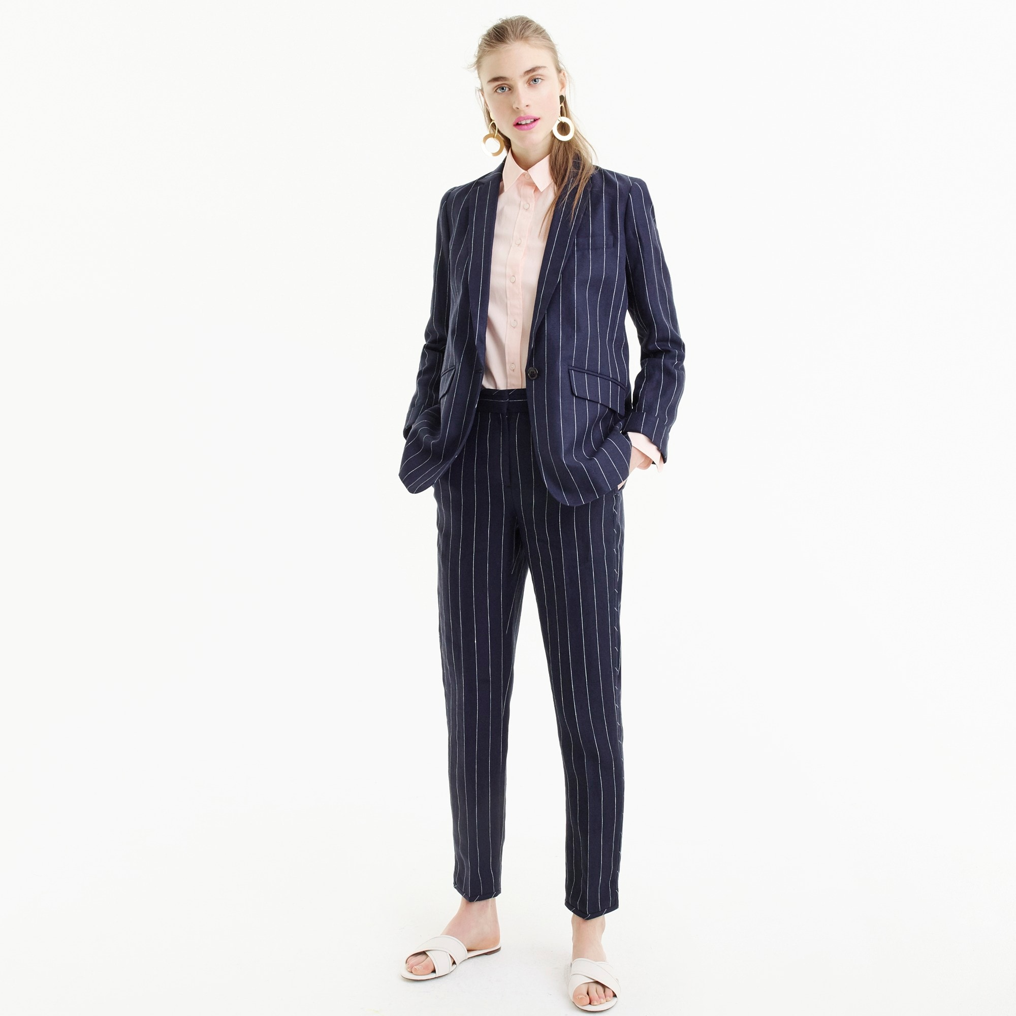 women's tall boy blazer in pinstriped linen - women's suit separates