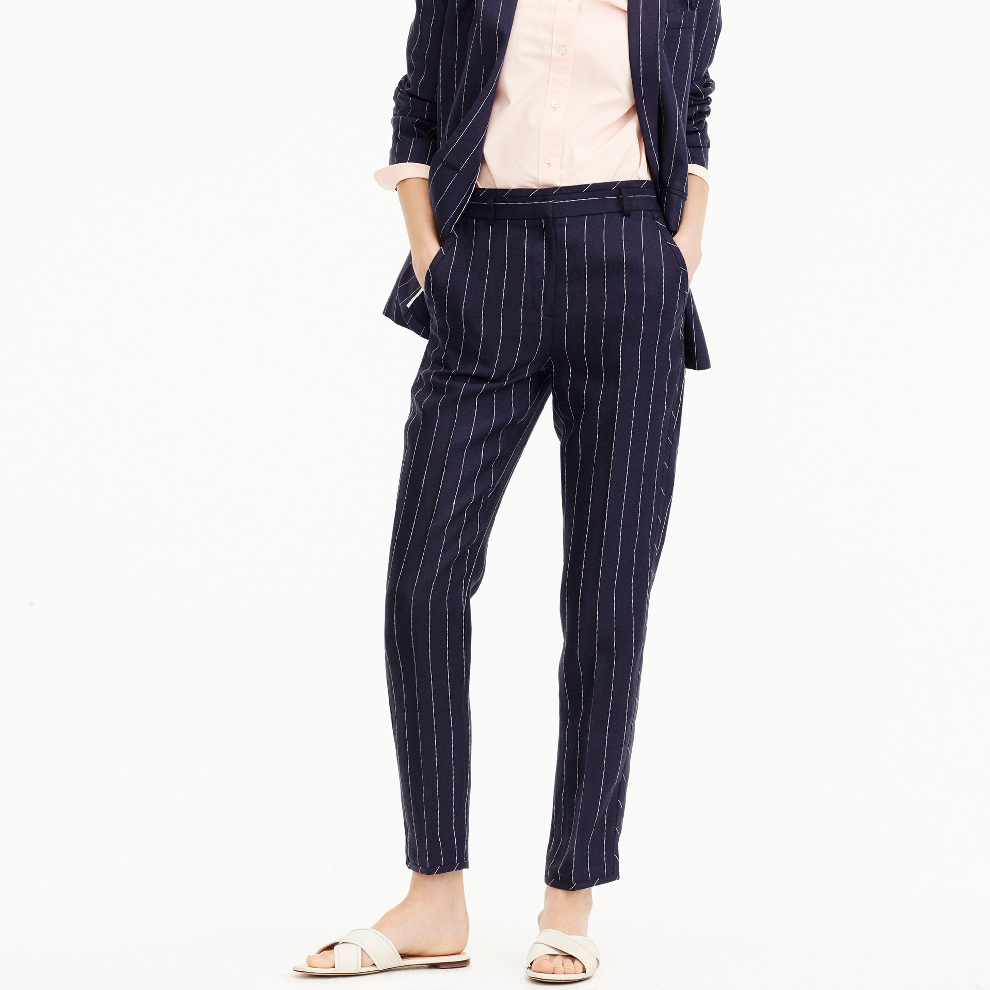 Tall easy pant in pinstriped linen
