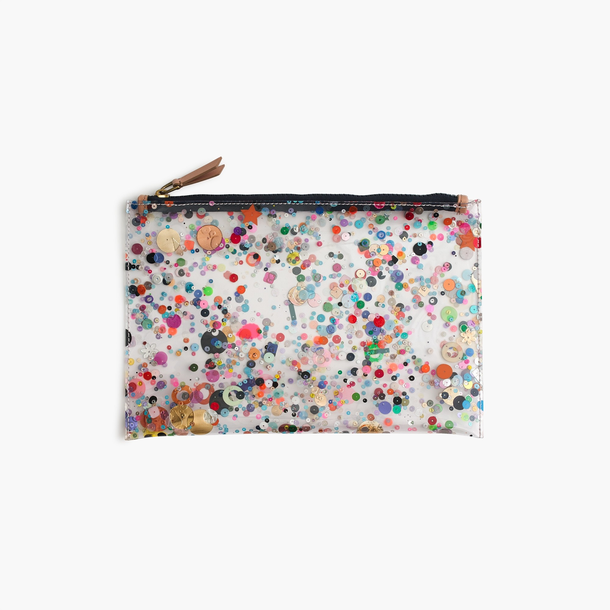 womens Large vinyl pouch with glitter