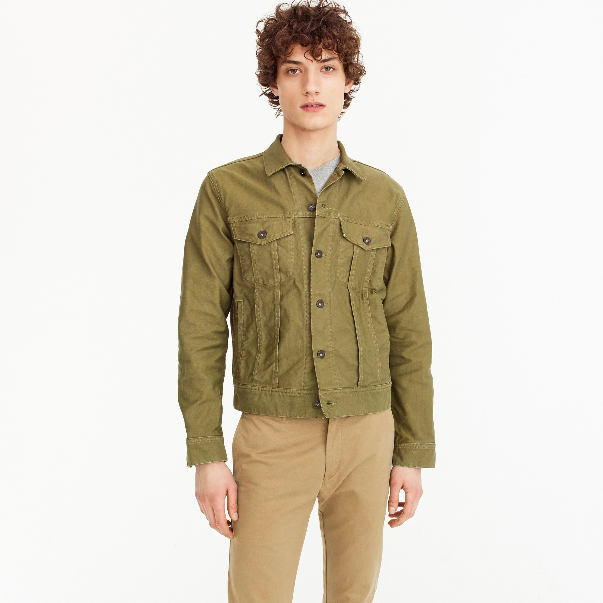 Trucker jacket in garment-dyed Bedford cord men new arrivals c