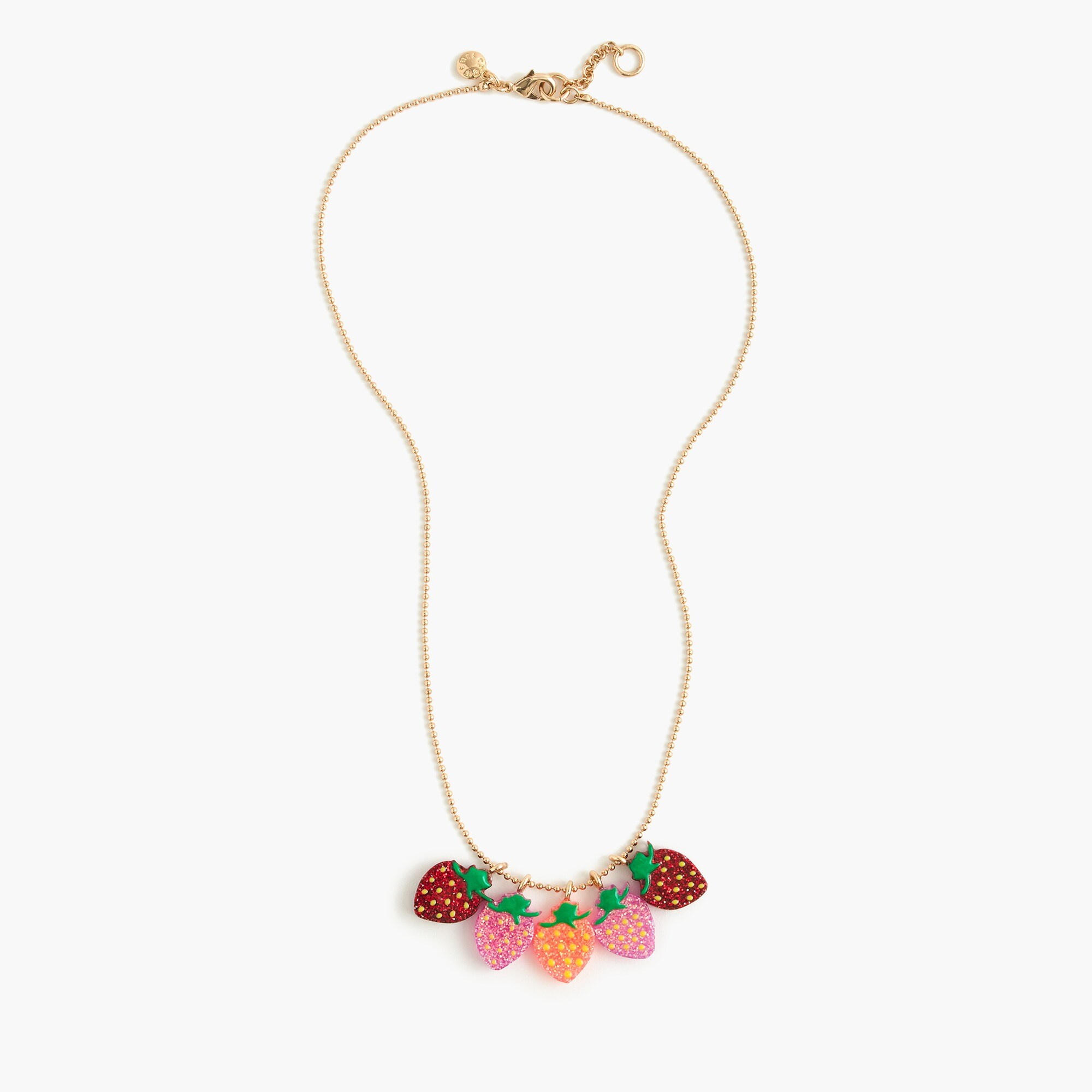 girls Girls' glitter strawberry charm necklace