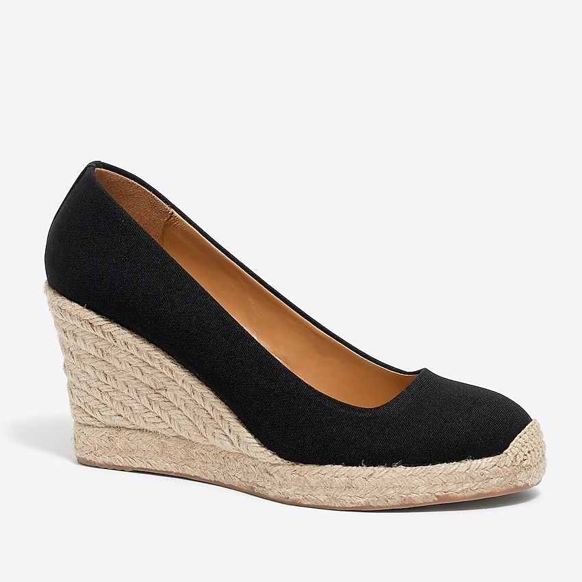 j.crew factory: canvas espadrille wedges, right side, view zoomed