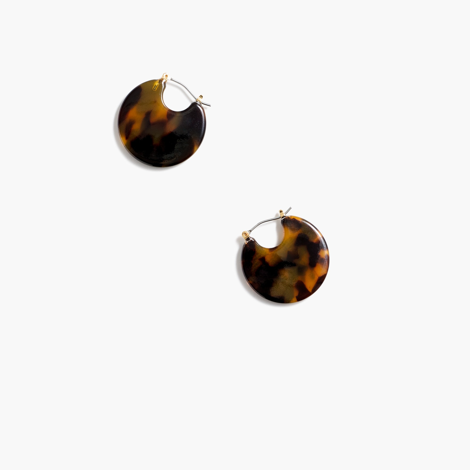 Image 1 for Round disk tortoise earrings