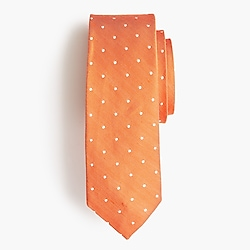 Silk-linen tie in dot print