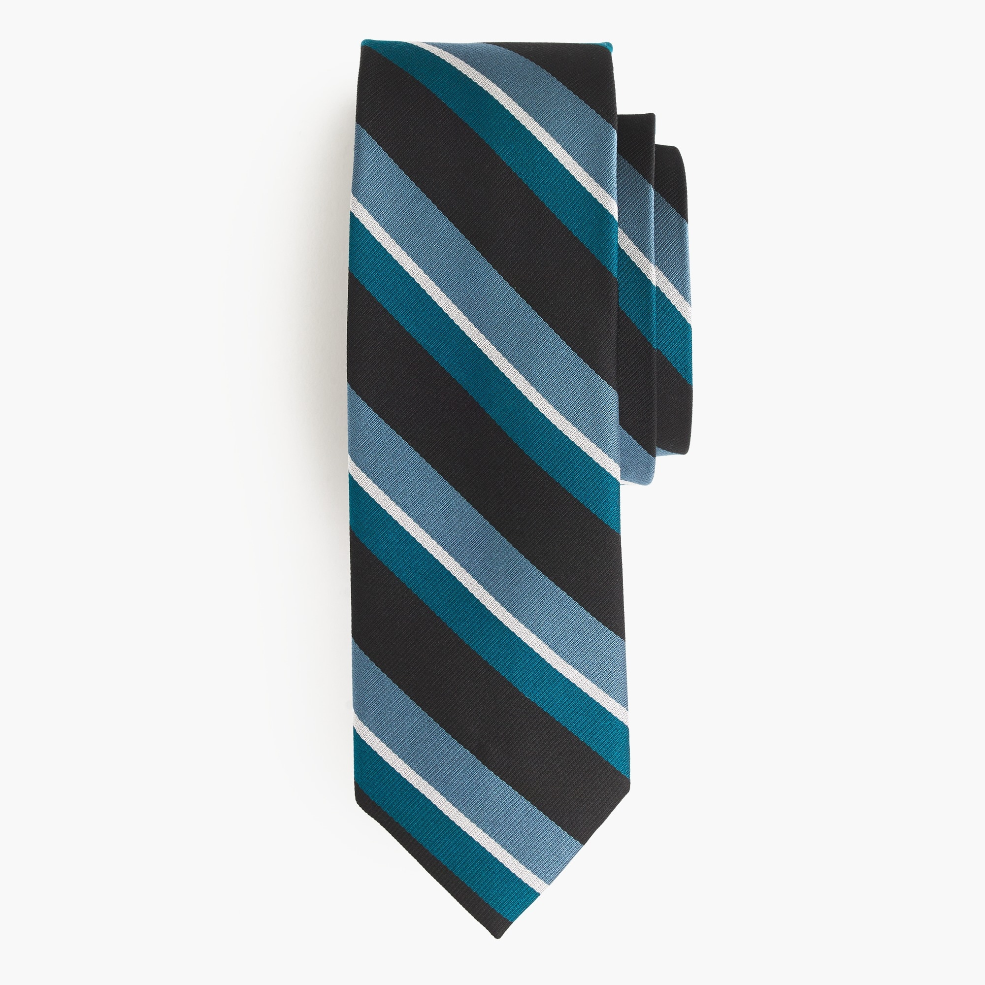 Silk repp tie in blue and black stripe