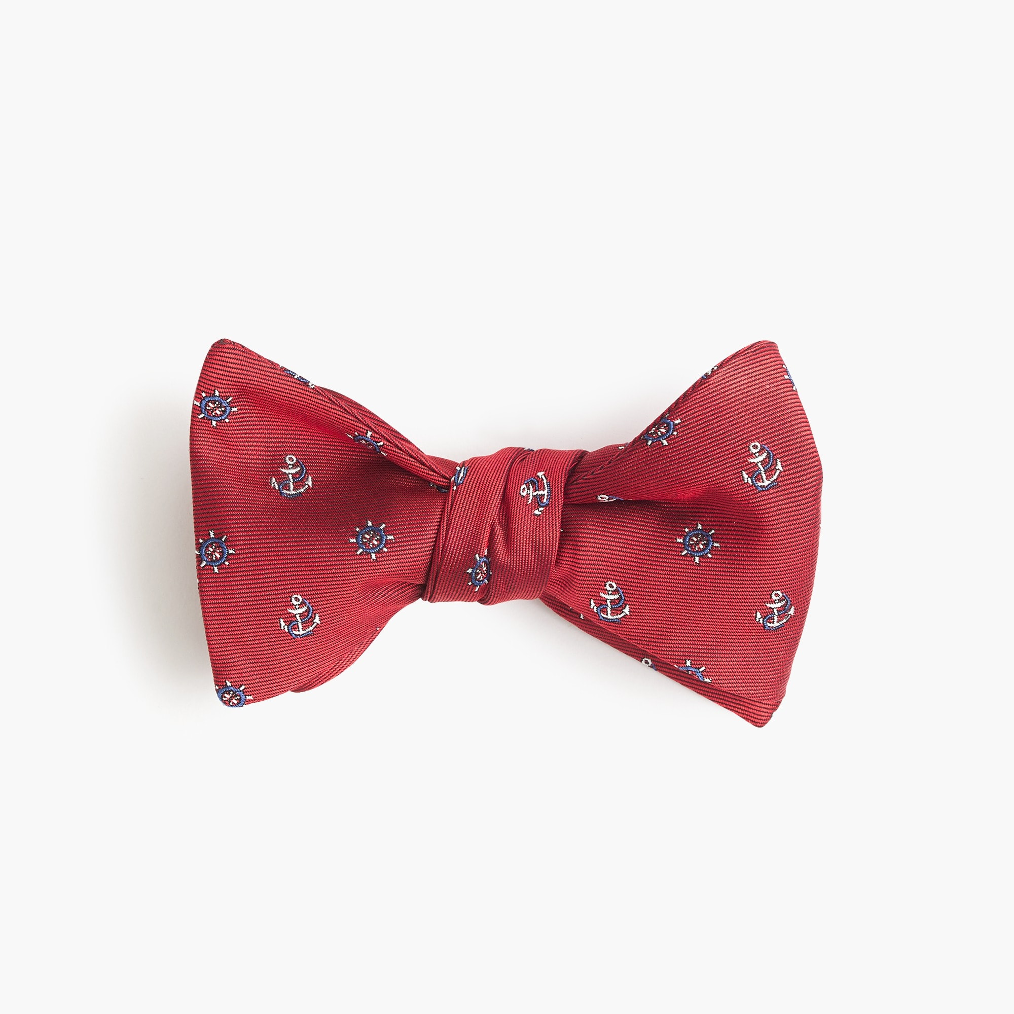Silk bow tie in red nautical print men ties & pocket squares c