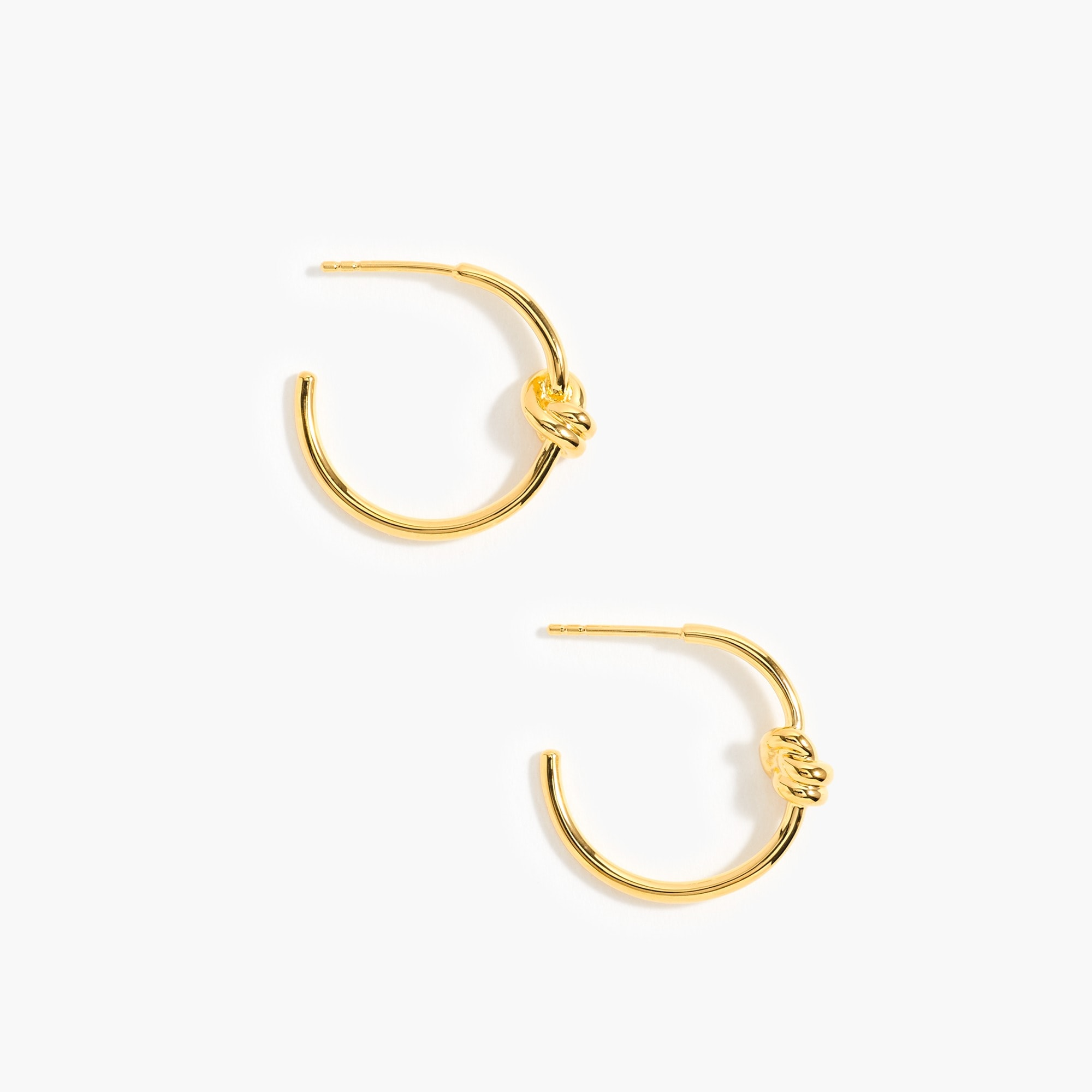 womens Demi-fine 14k gold-plated knot hoops