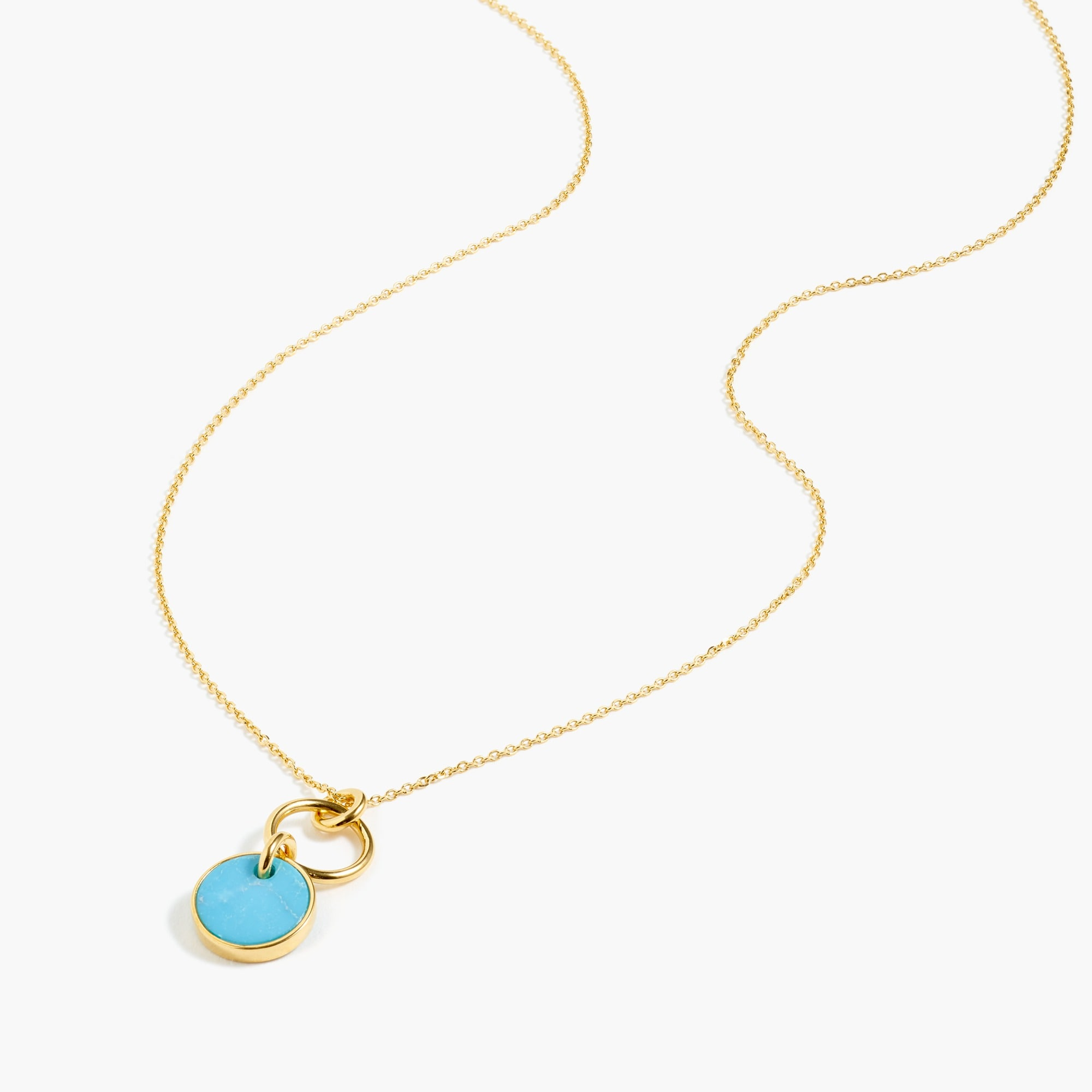 Image 2 for Demi-fine 14k gold-plated turquoise pendant necklace