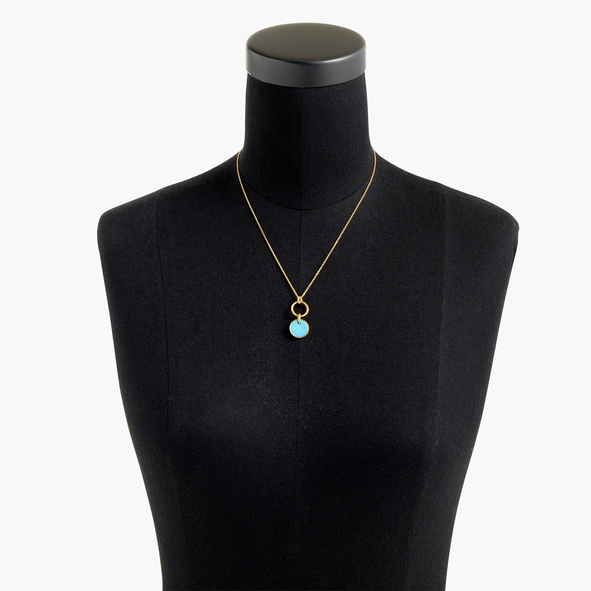Demi-fine 14k gold-plated turquoise pendant necklace