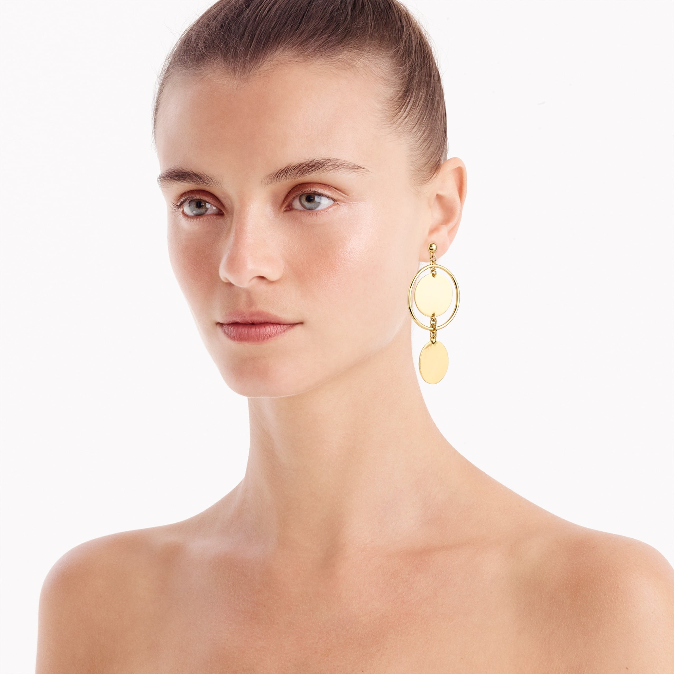 women's double-disc drop earrings - women's jewelry