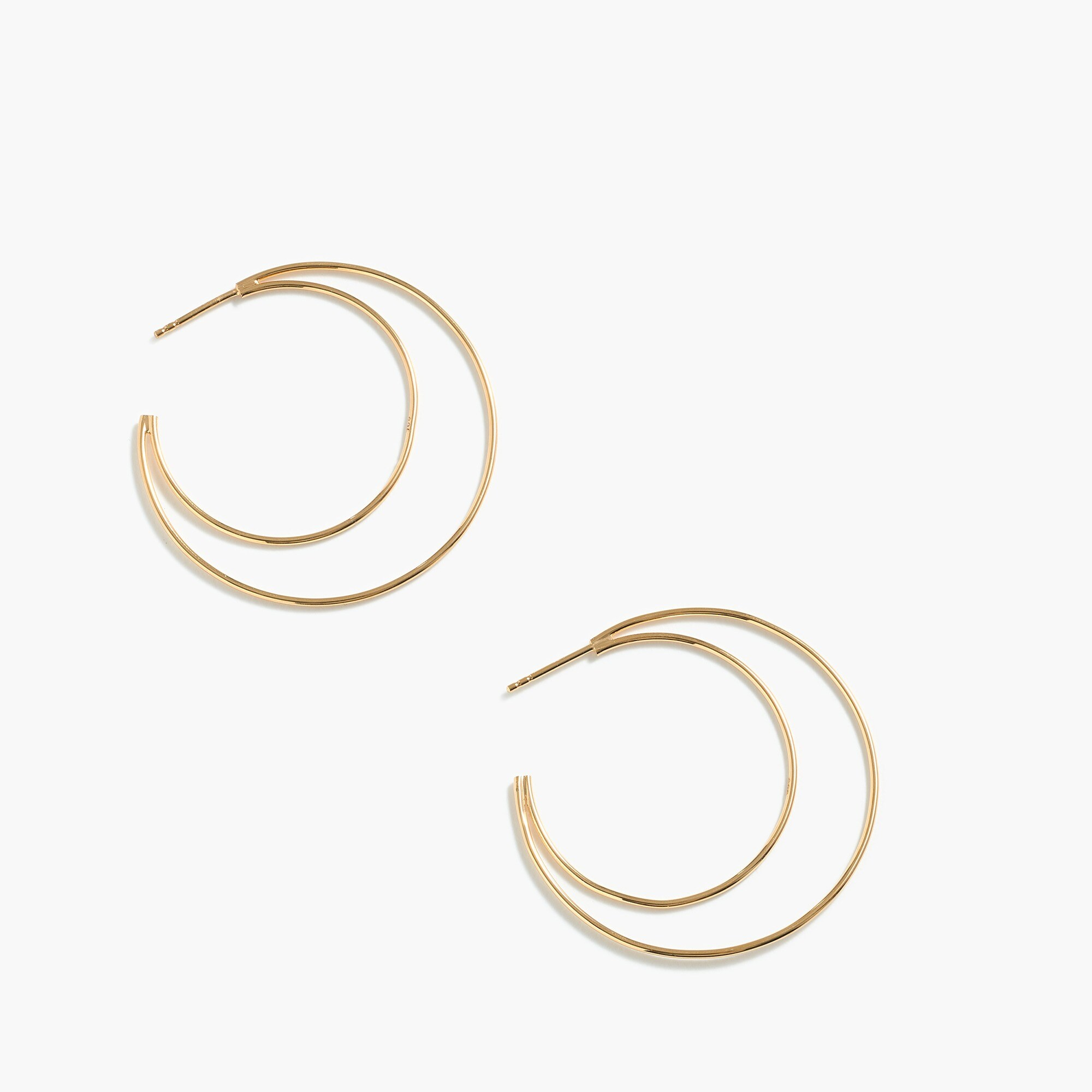 womens Demi-fine 14k gold-plated double hoop earrings