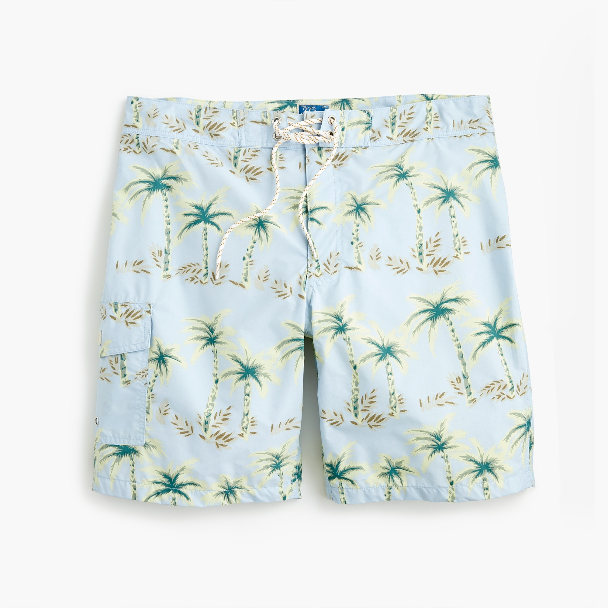 "mens 9"" board short in palm tree print"