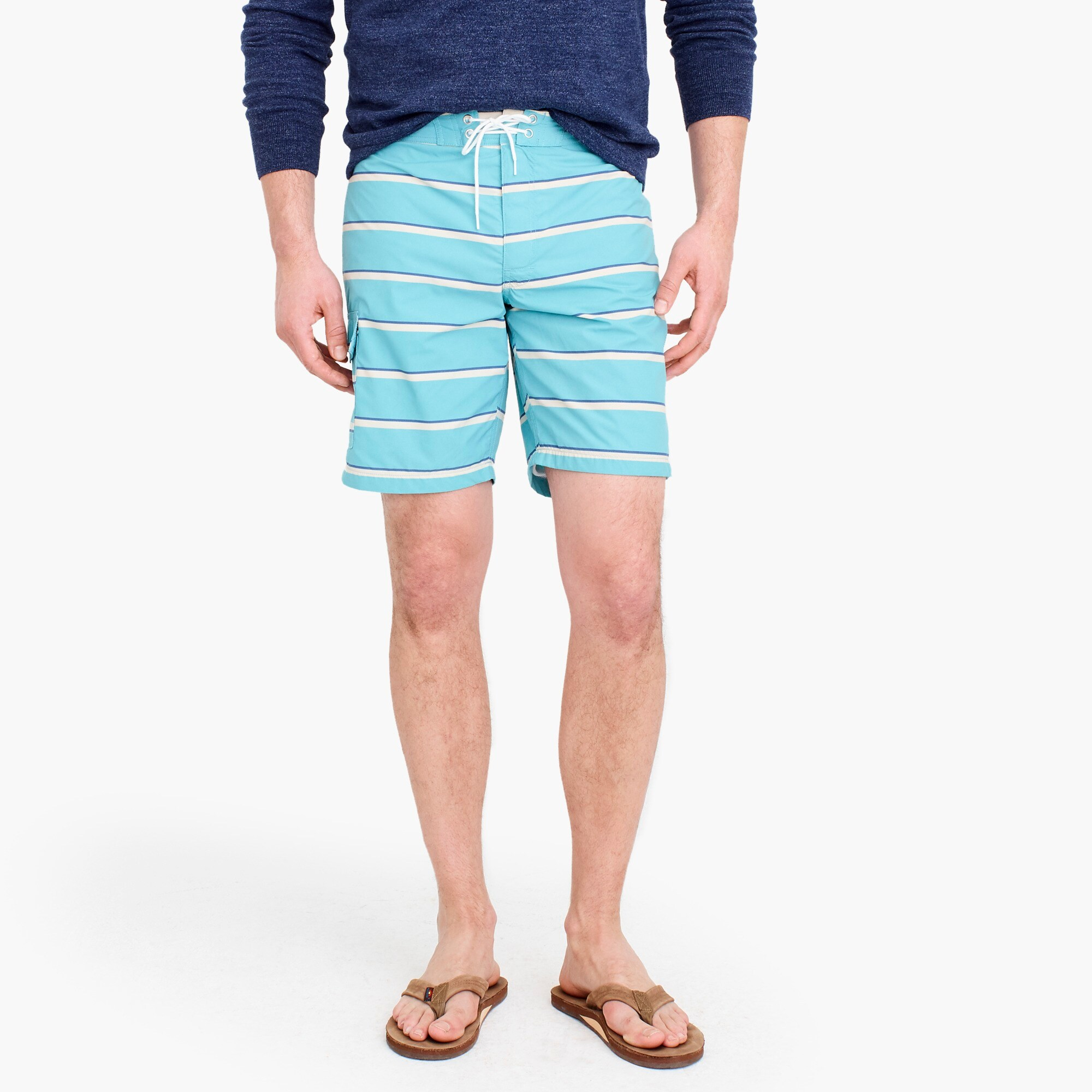 men's 9 board short in turquoise stripe - men's swimwear