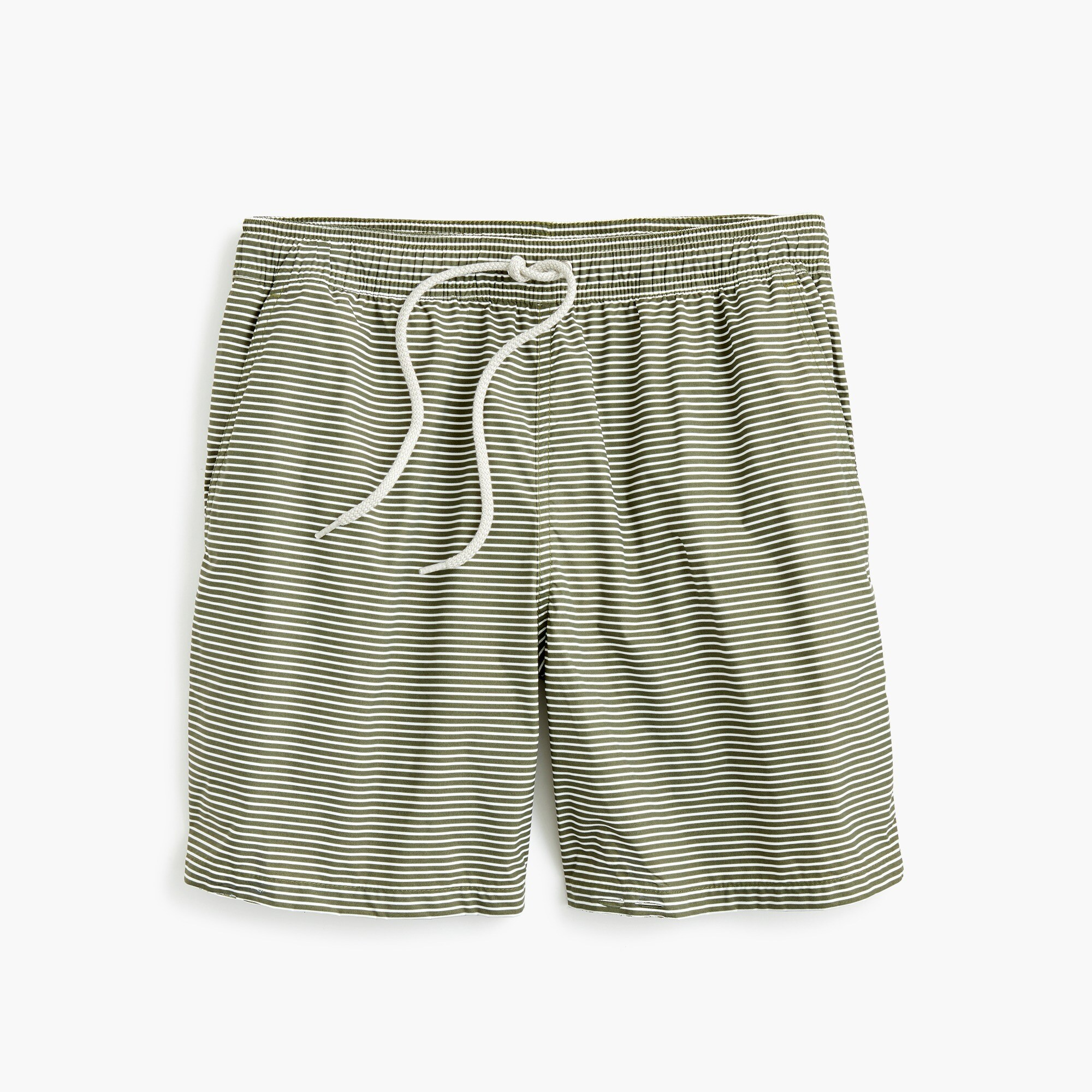 "mens 6"" swim trunk in green stripe"