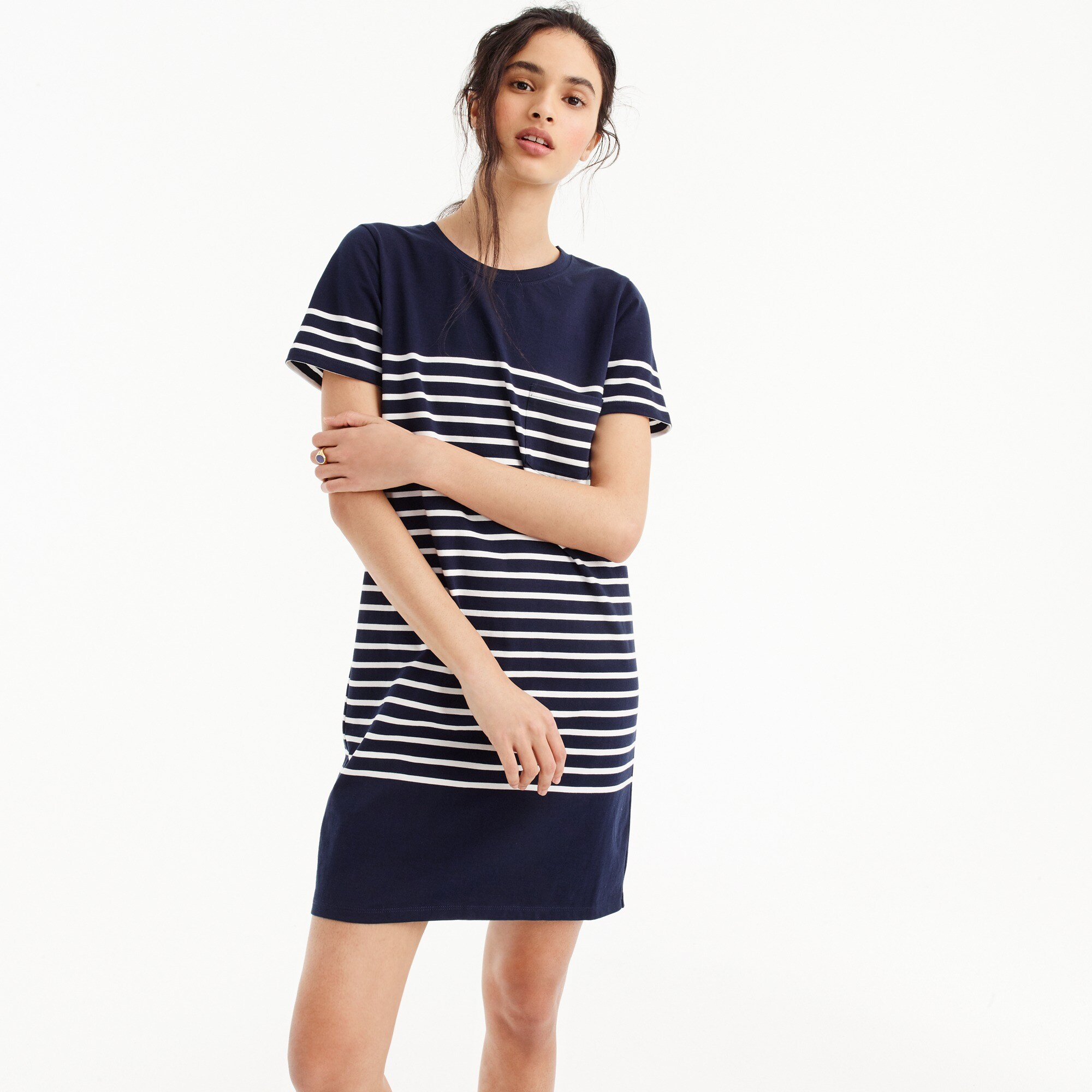 women's t-shirt dress in nautical stripe - women's swimwear