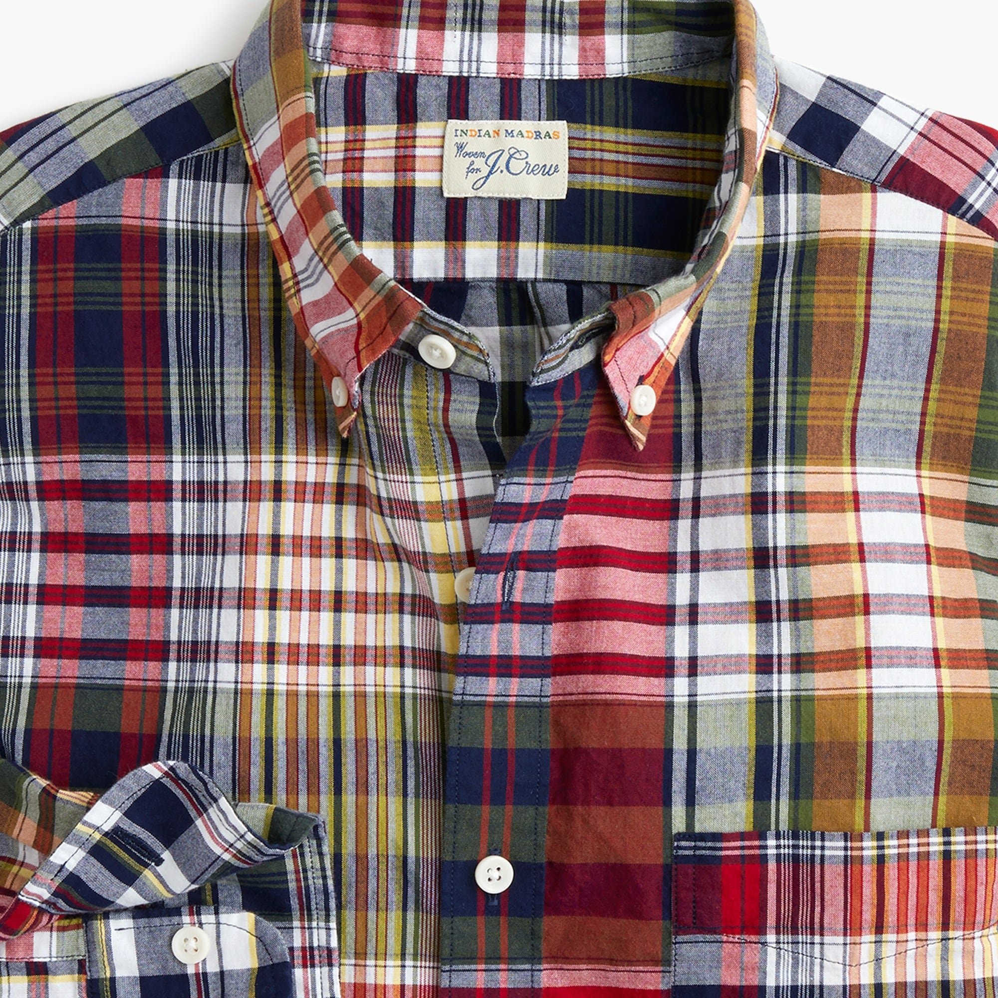 men's tall indian madras shirt in mixed red plaid - men's woven shirts