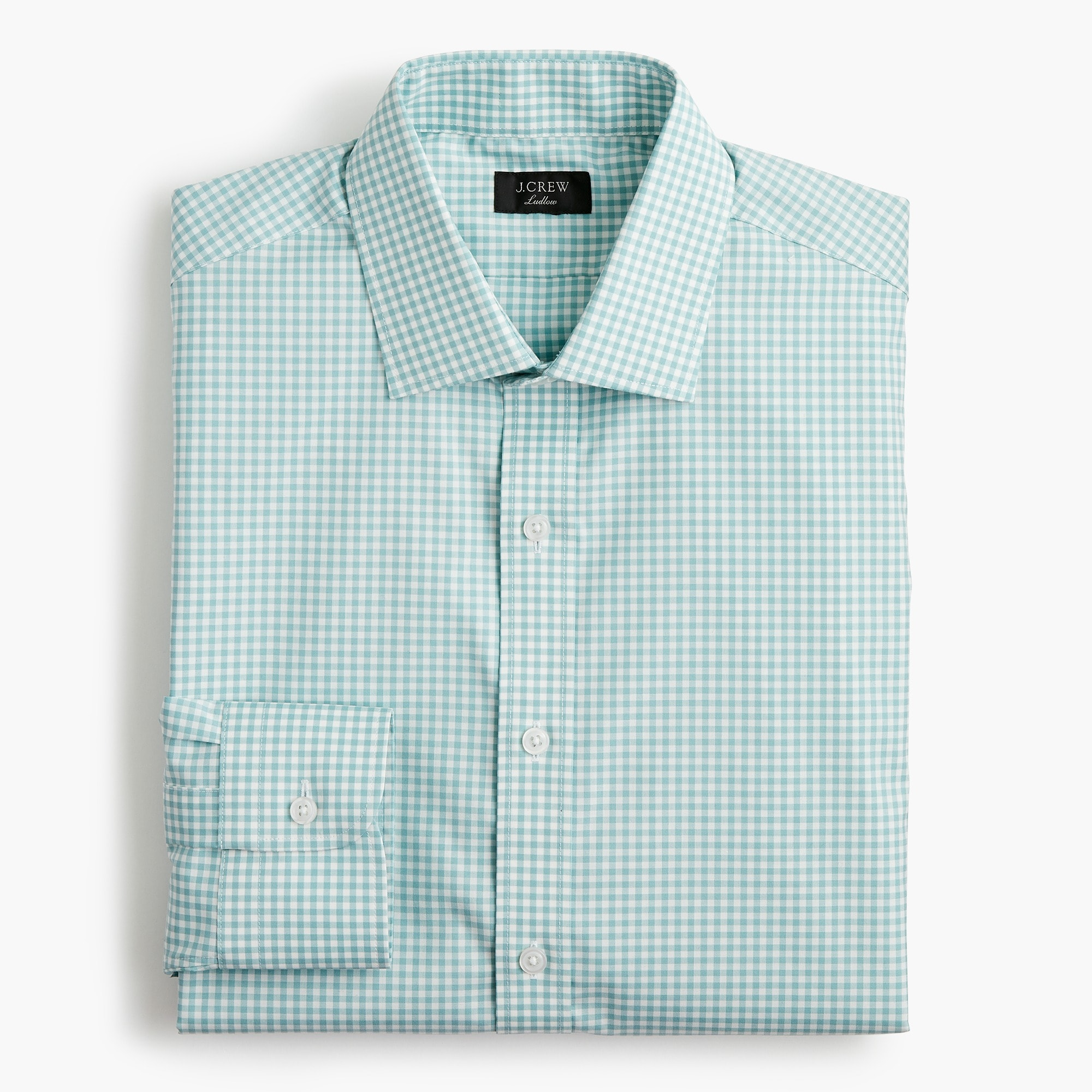 mens Ludlow Slim-fit stretch two-ply easy-care cotton dress shirt in aqua gingham