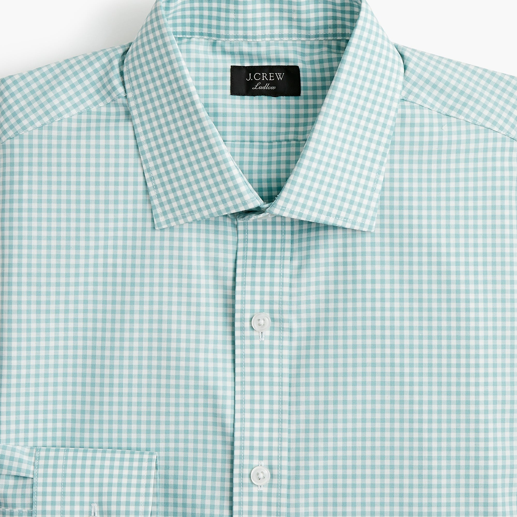 Ludlow stretch two-ply easy-care cotton dress shirt in aqua gingham