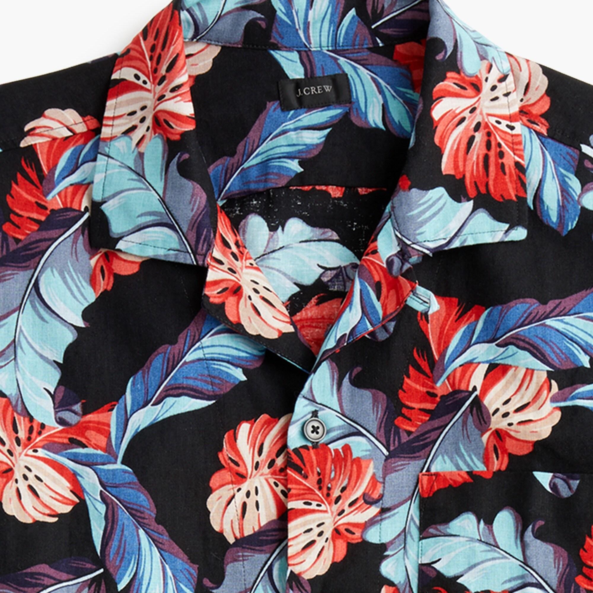 men's short-sleeve camp-collar cotton-linen shirt in tropical print - men's woven shirts