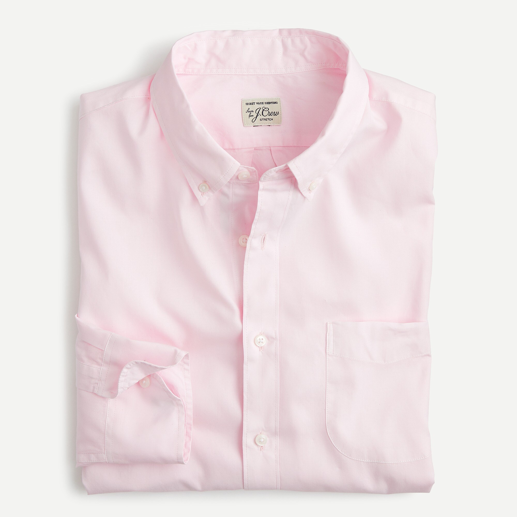 mens Stretch Secret Wash shirt in garment-dyed solid poplin