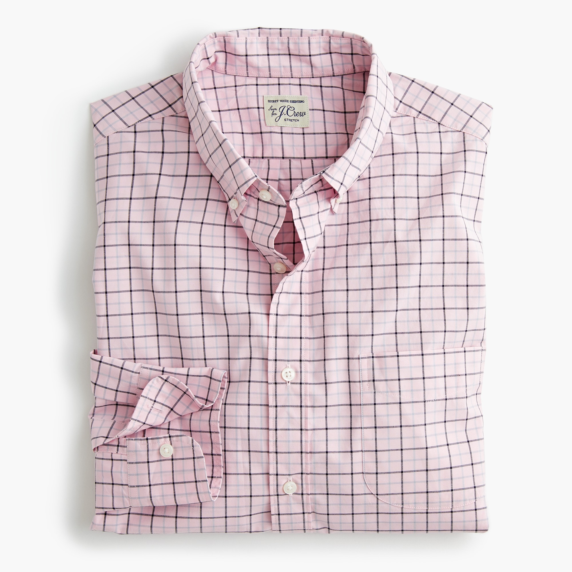 mens Stretch Secret Wash shirt in tattersall
