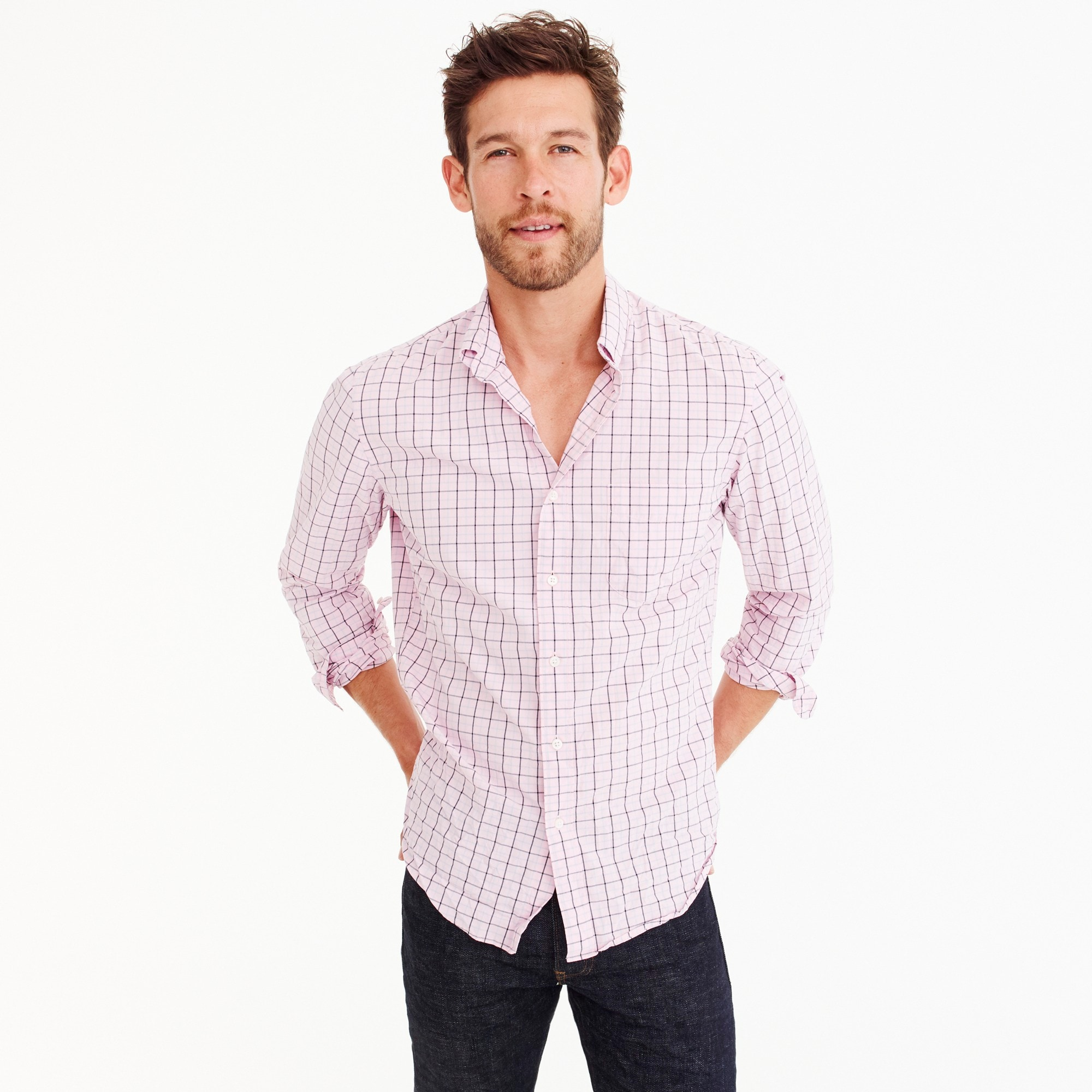 Slim stretch Secret Wash shirt in tattersall
