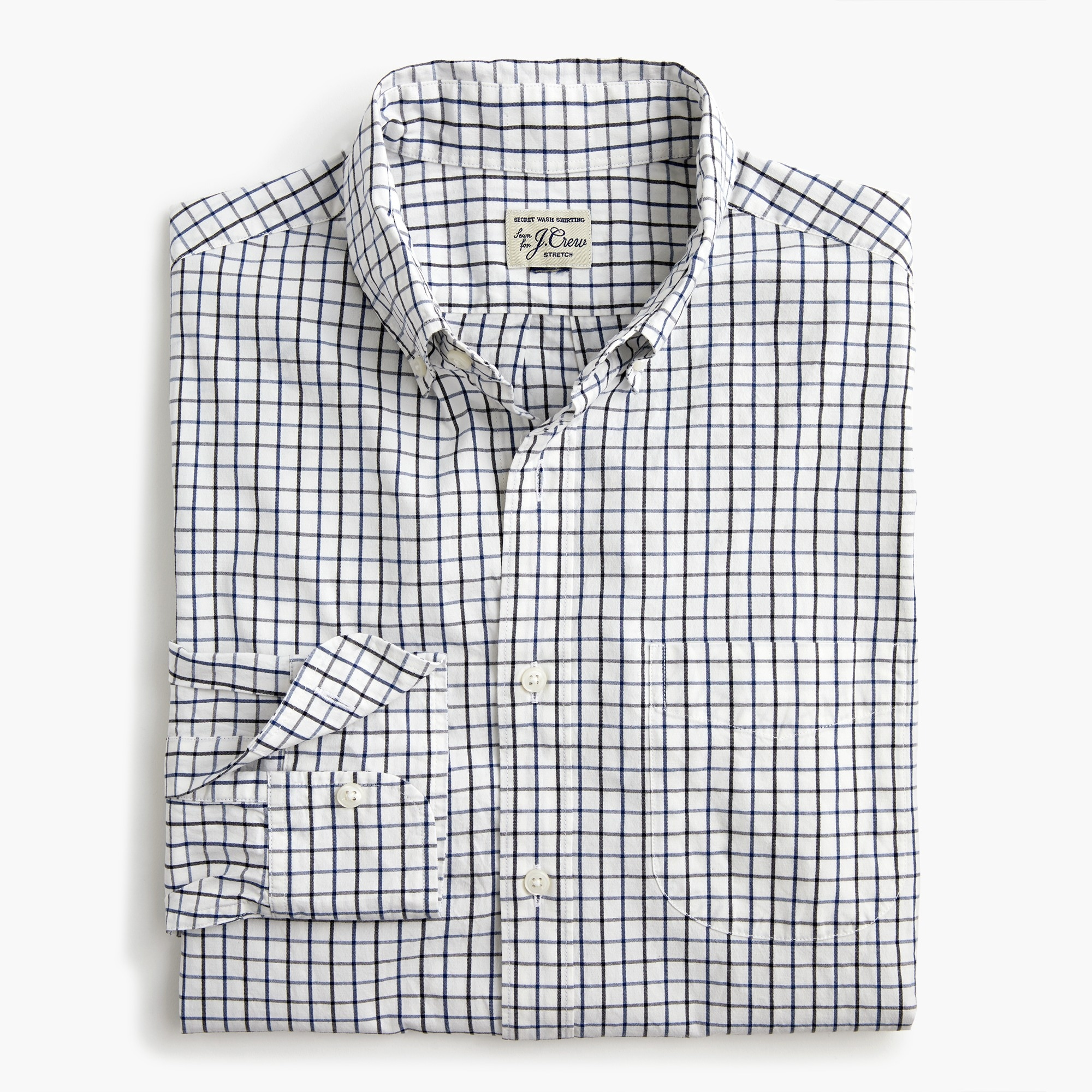 mens Slim stretch Secret Wash shirt in tattersall