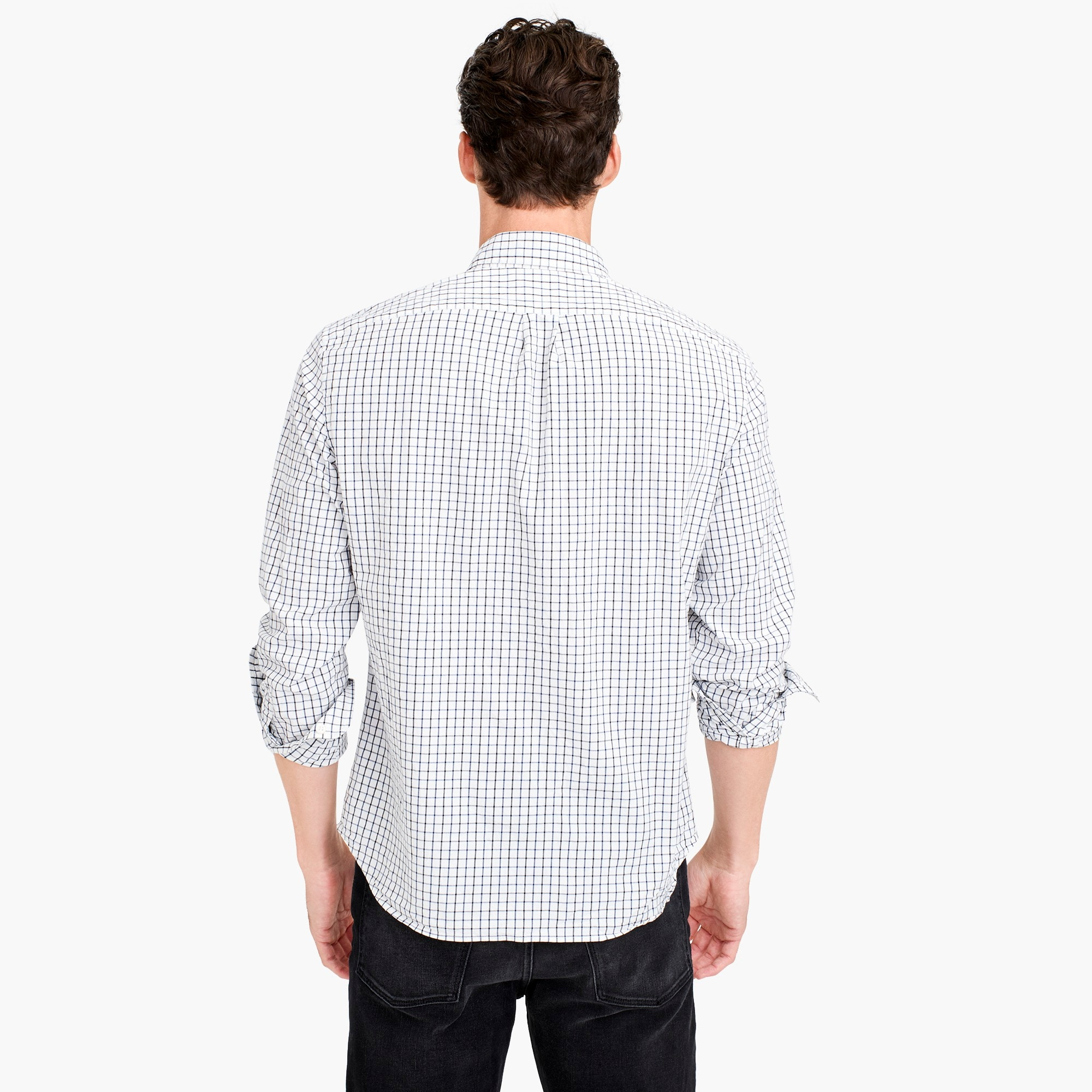 Untucked stretch Secret Wash shirt in tattersall