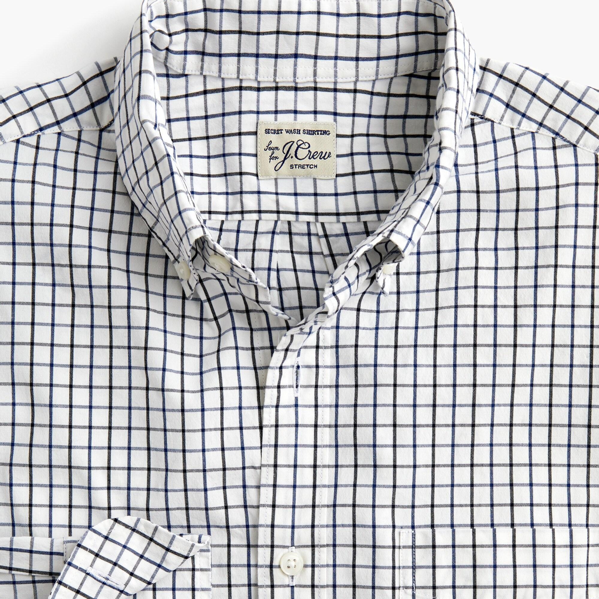 men's slim stretch secret wash shirt in tattersall - men's woven shirts