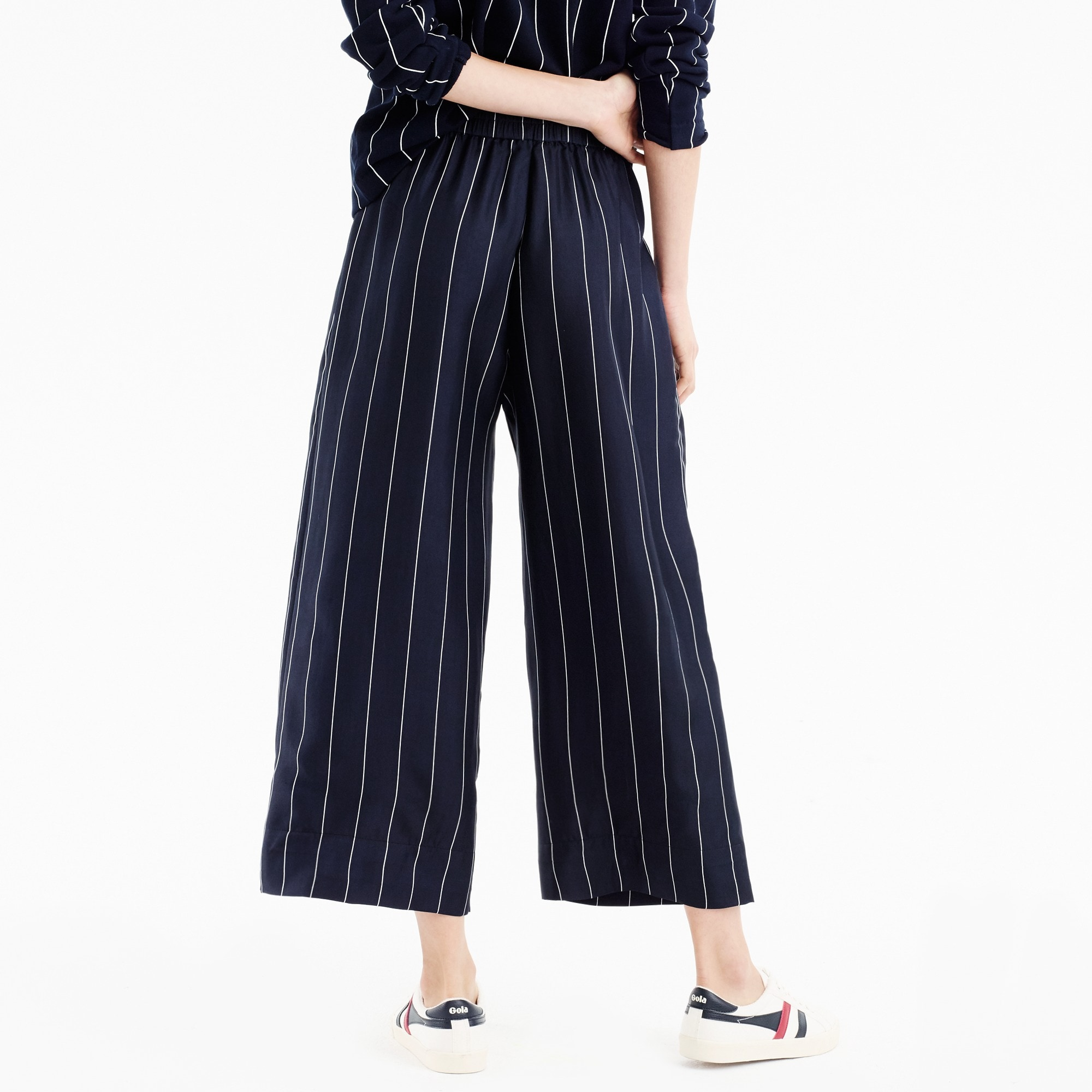 Image 4 for Cropped silk pull-on pant in pinstripe