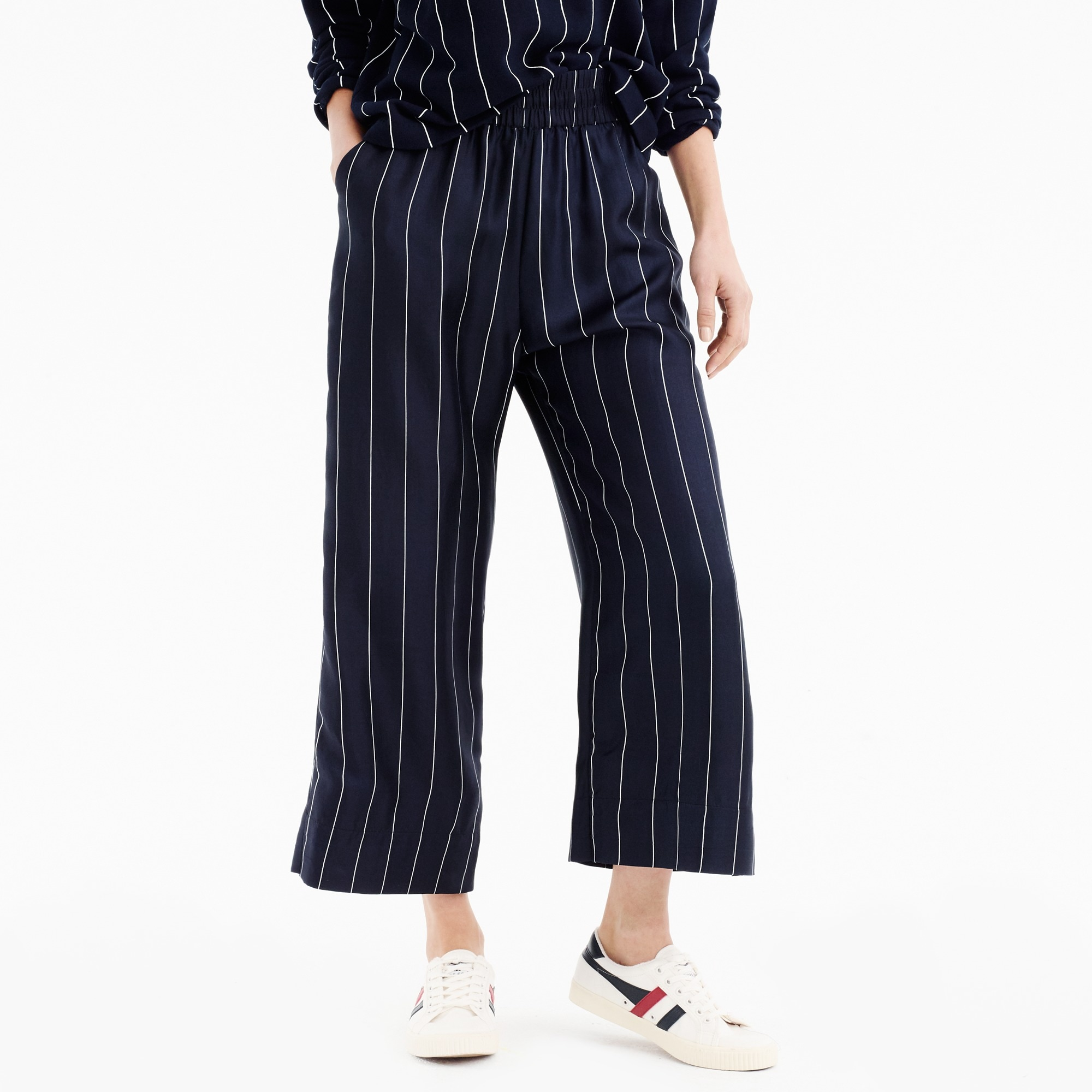 Image 5 for Cropped silk pull-on pant in pinstripe