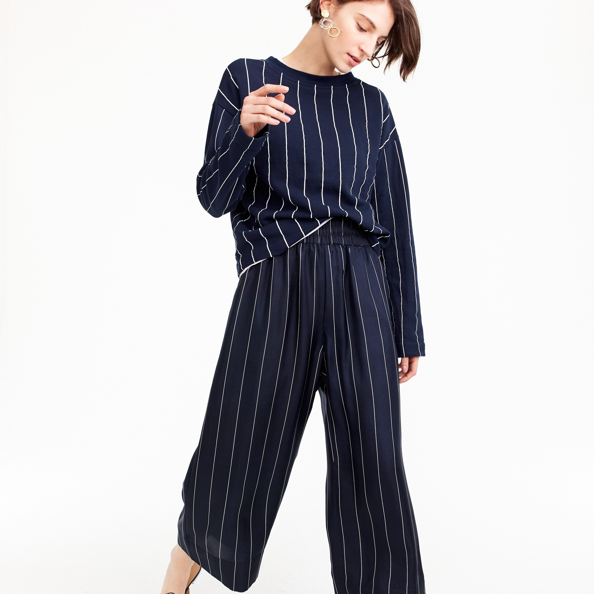 Image 1 for Cropped silk pull-on pant in pinstripe