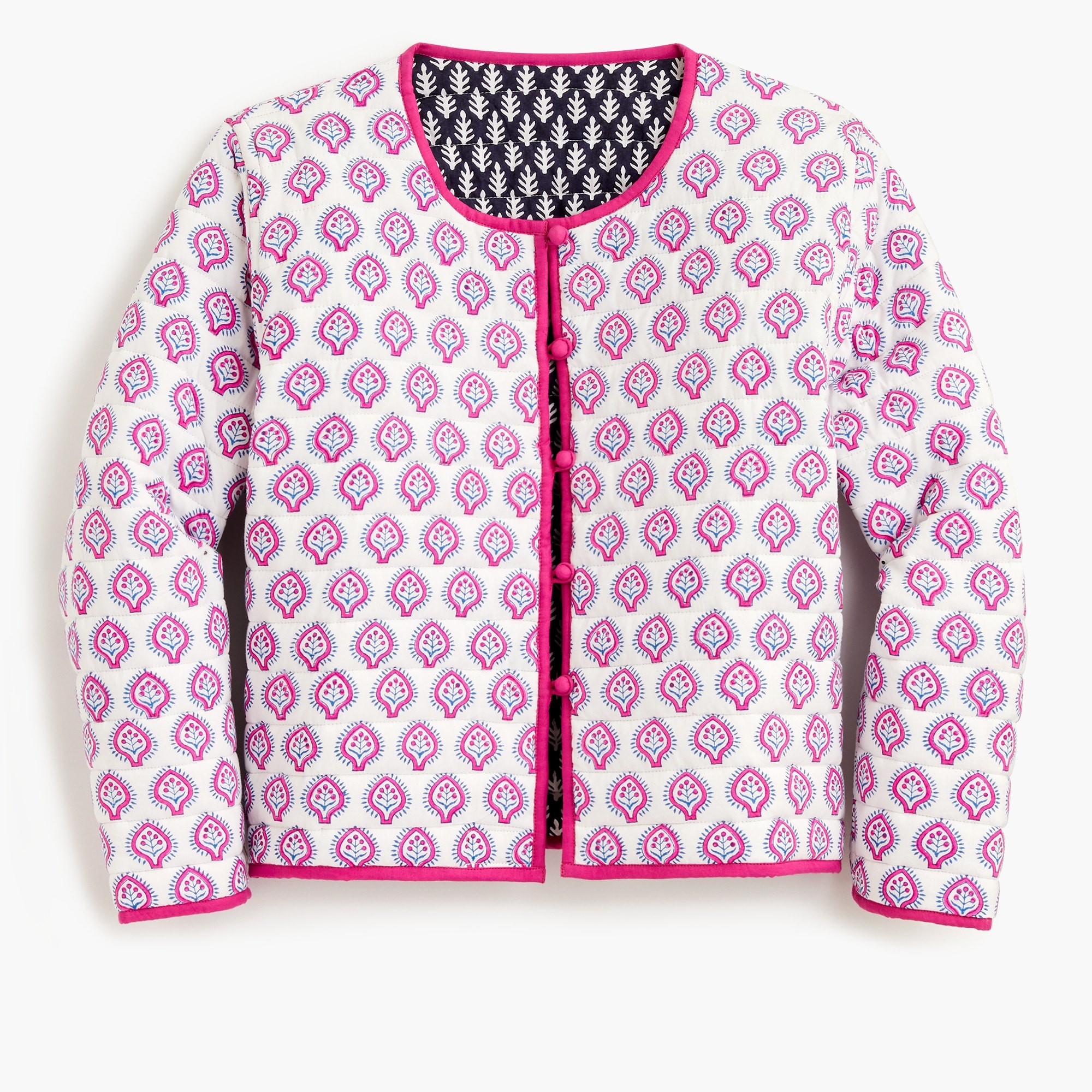 SZ Blockprints™ for J.Crew reversible quilted jacket in lilac pineapple