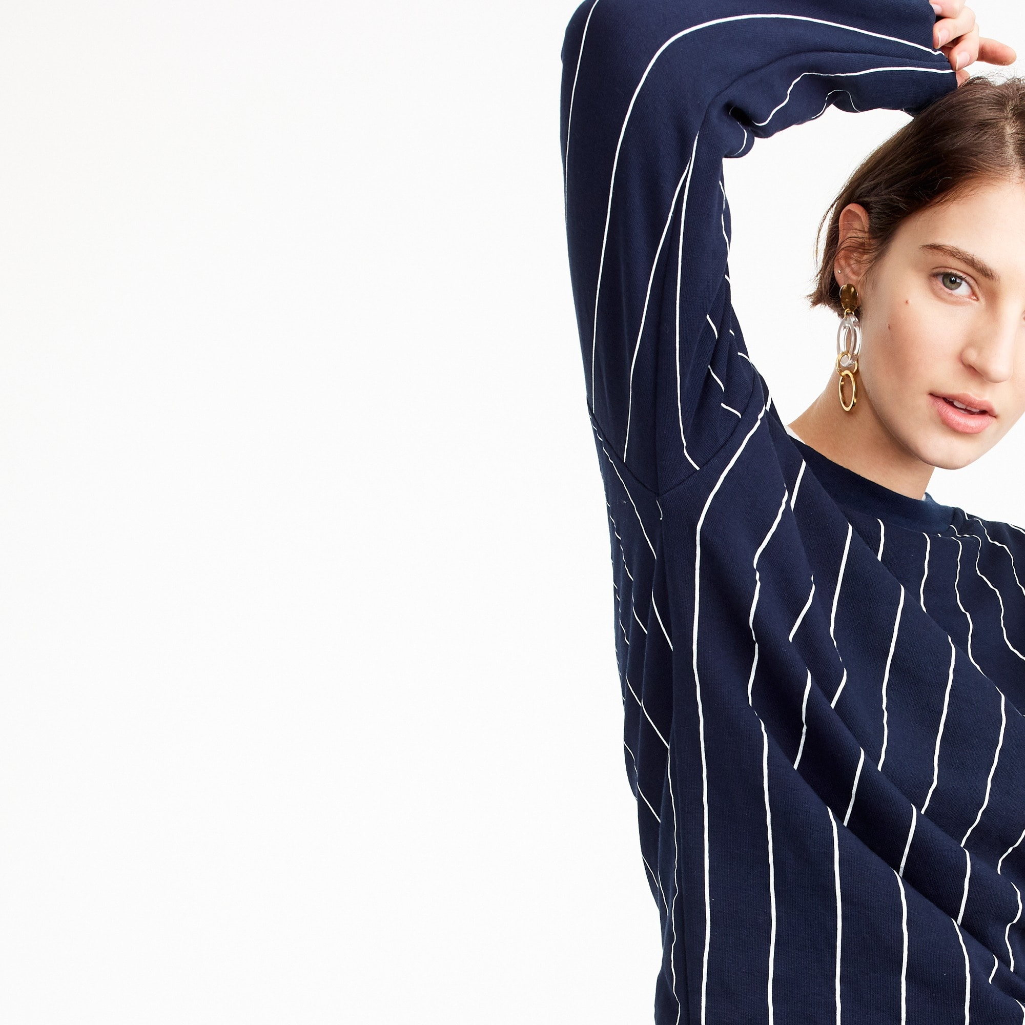 Crewneck sweatshirt in pinstripe