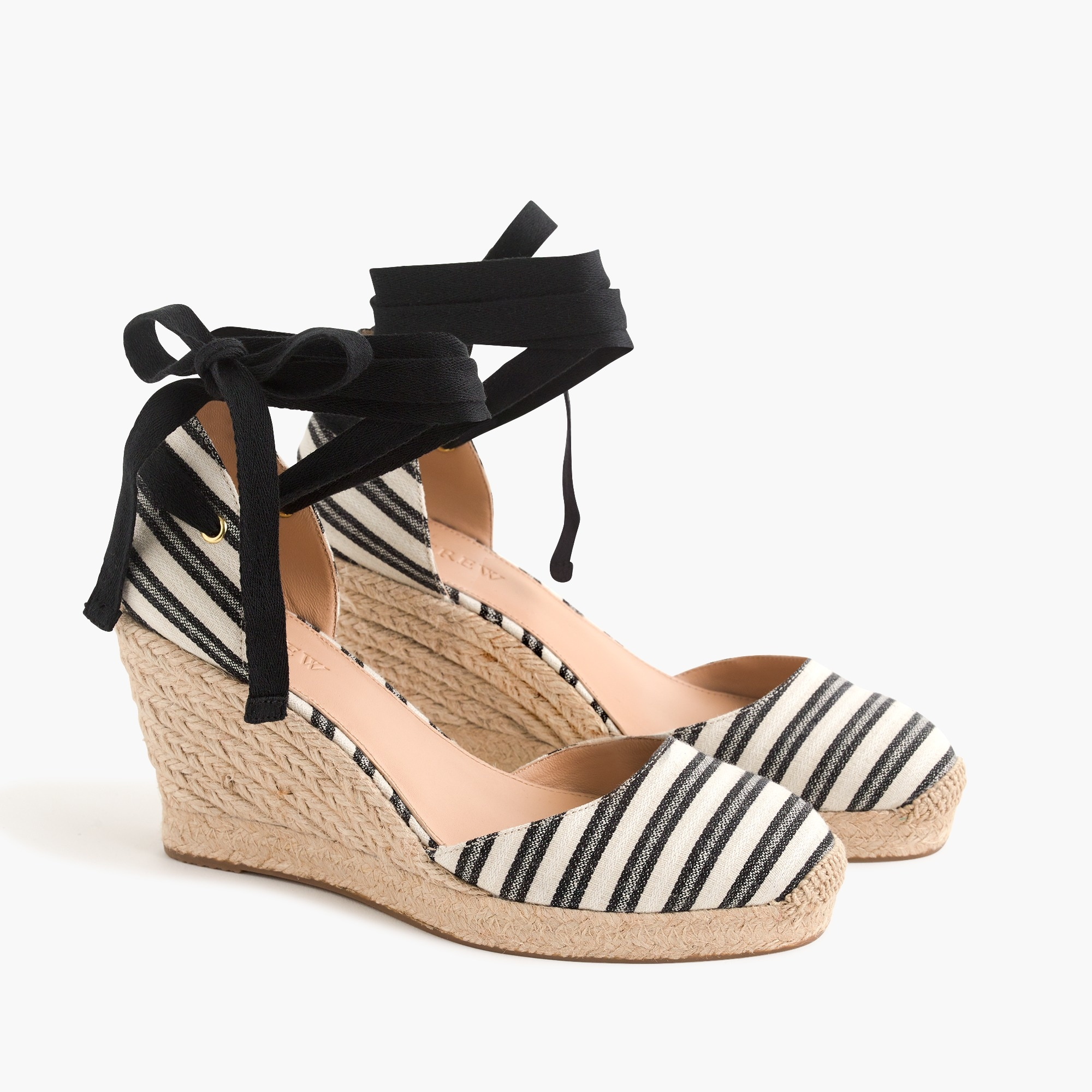 Image 3 for Espadrille wedges (83mm) with ankle wrap in stripe