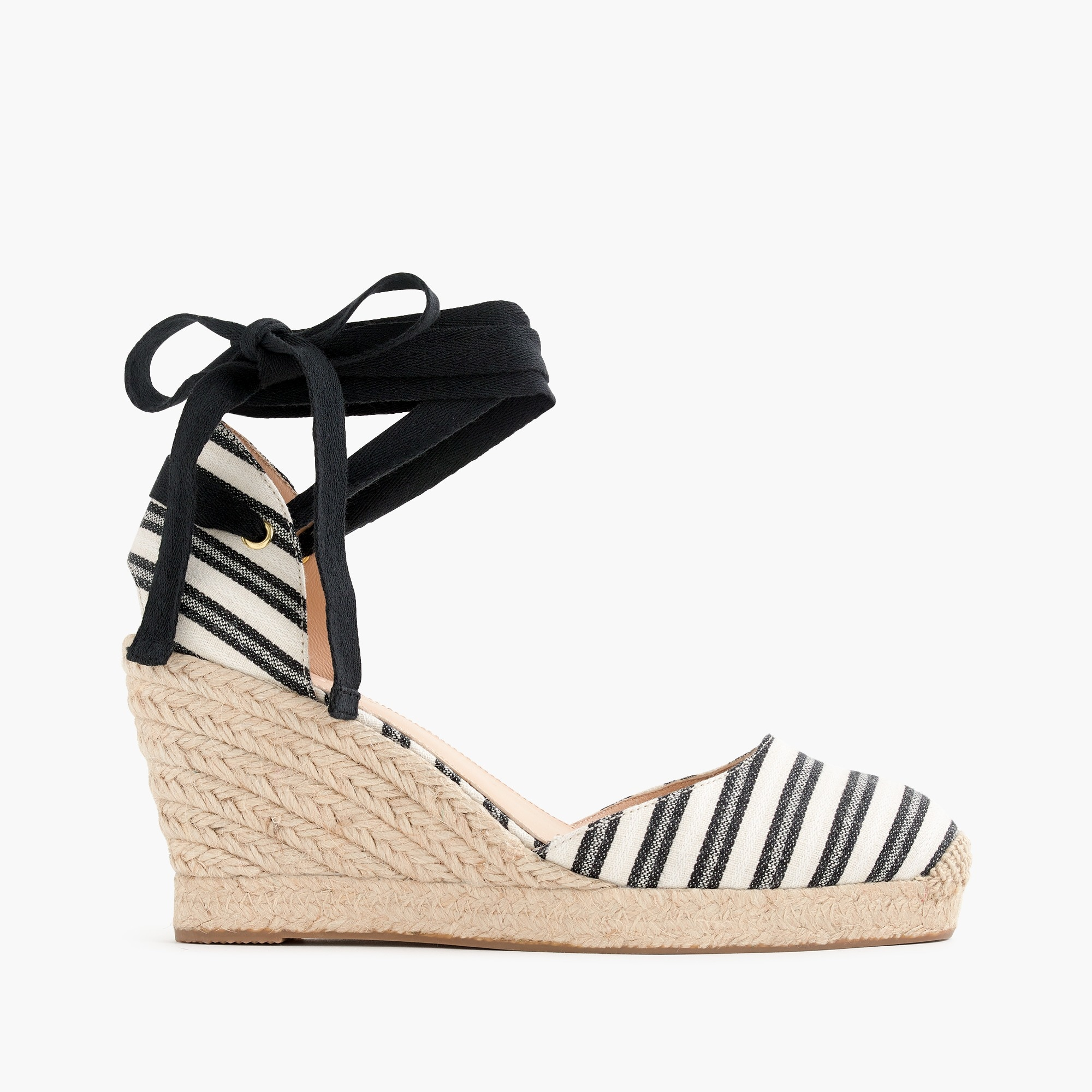 Image 2 for Espadrille wedges (83mm) with ankle wrap in stripe