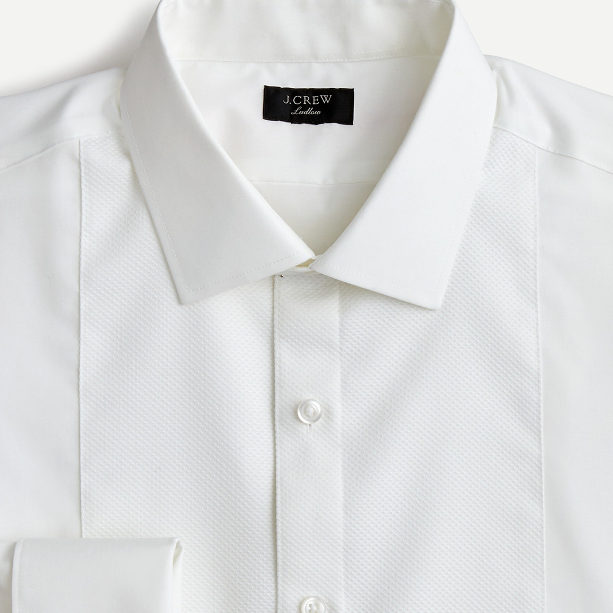 Image 1 for Ludlow Slim-fit stretch two-ply piqué-bib tuxedo shirt