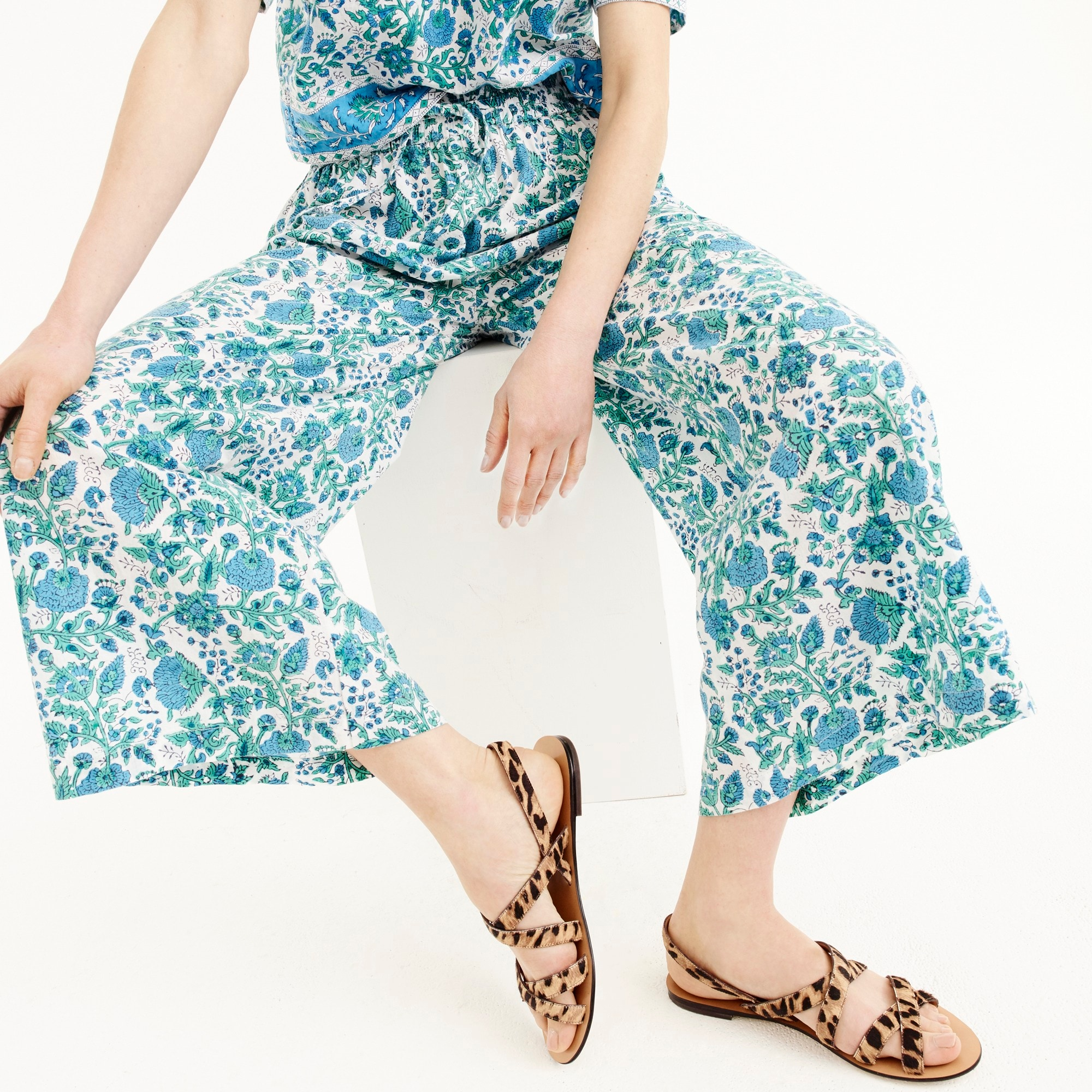 SZ Blockprints™ for J.Crew wide-leg pant in cobalt leaf women j.crew in good company c