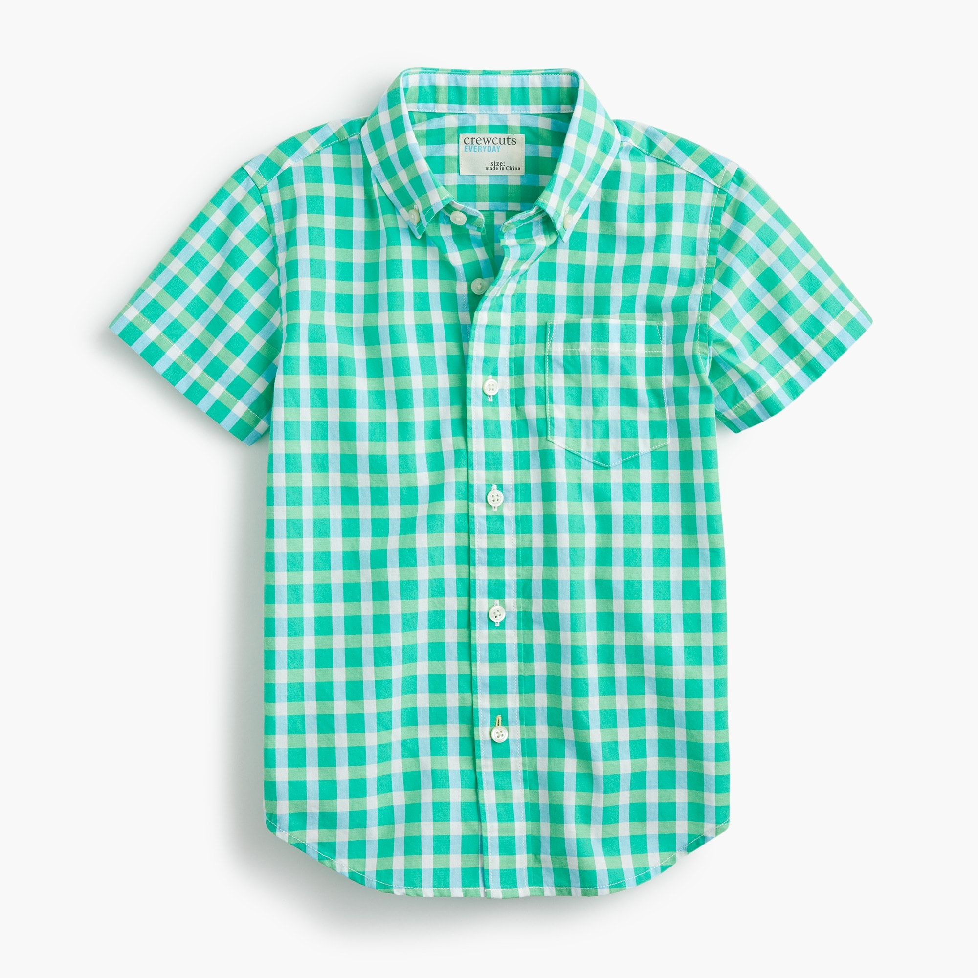 boys' short-sleeve secret wash shirt in green gingham - boys' shirts