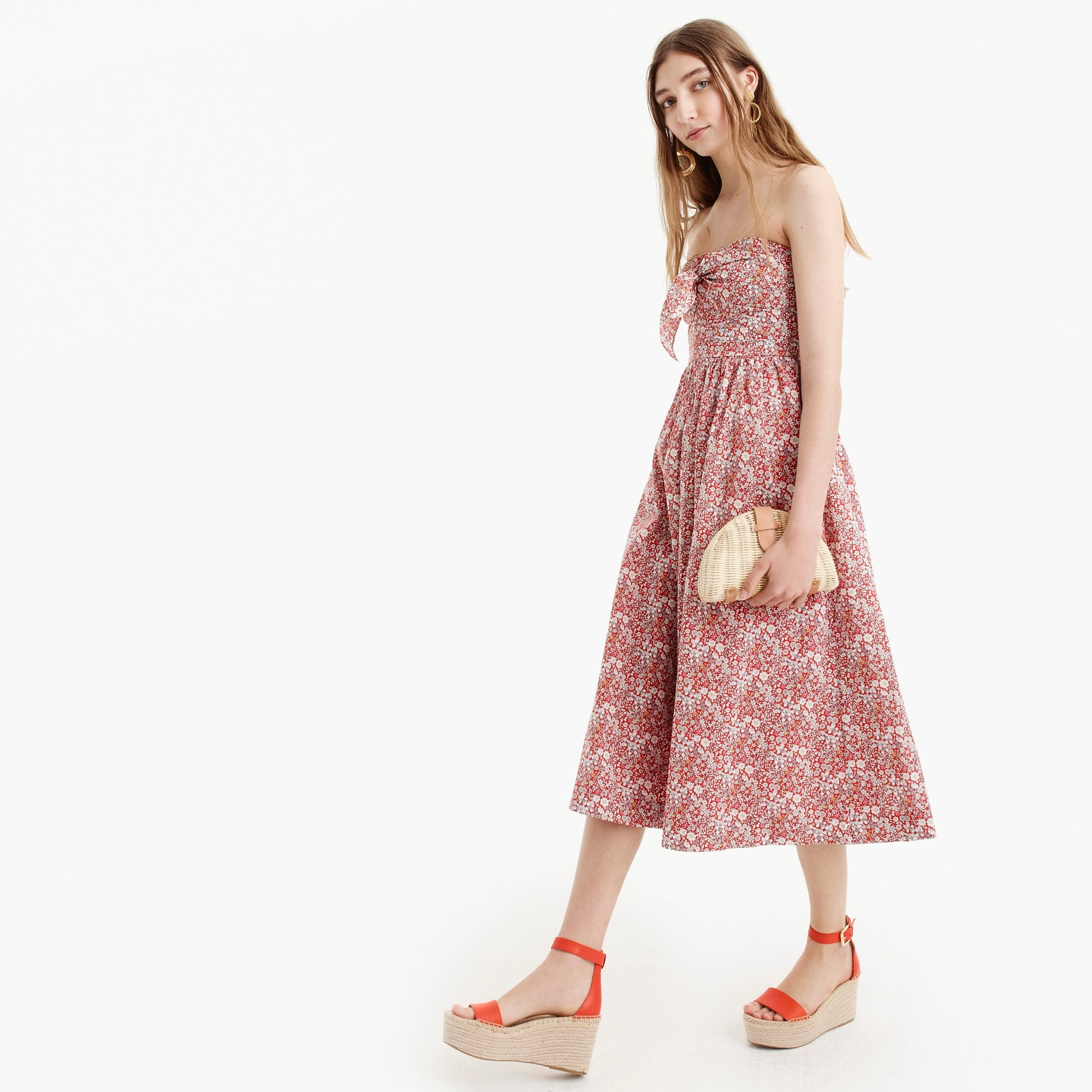 Tie-front strapless dress in Liberty® June's Meadow women j.crew in good company c
